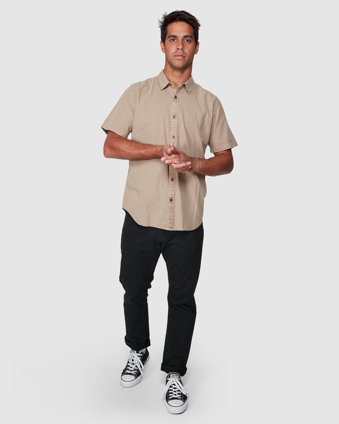 5 Crushed Short Sleeve Shirt Brown R182191 RVCA