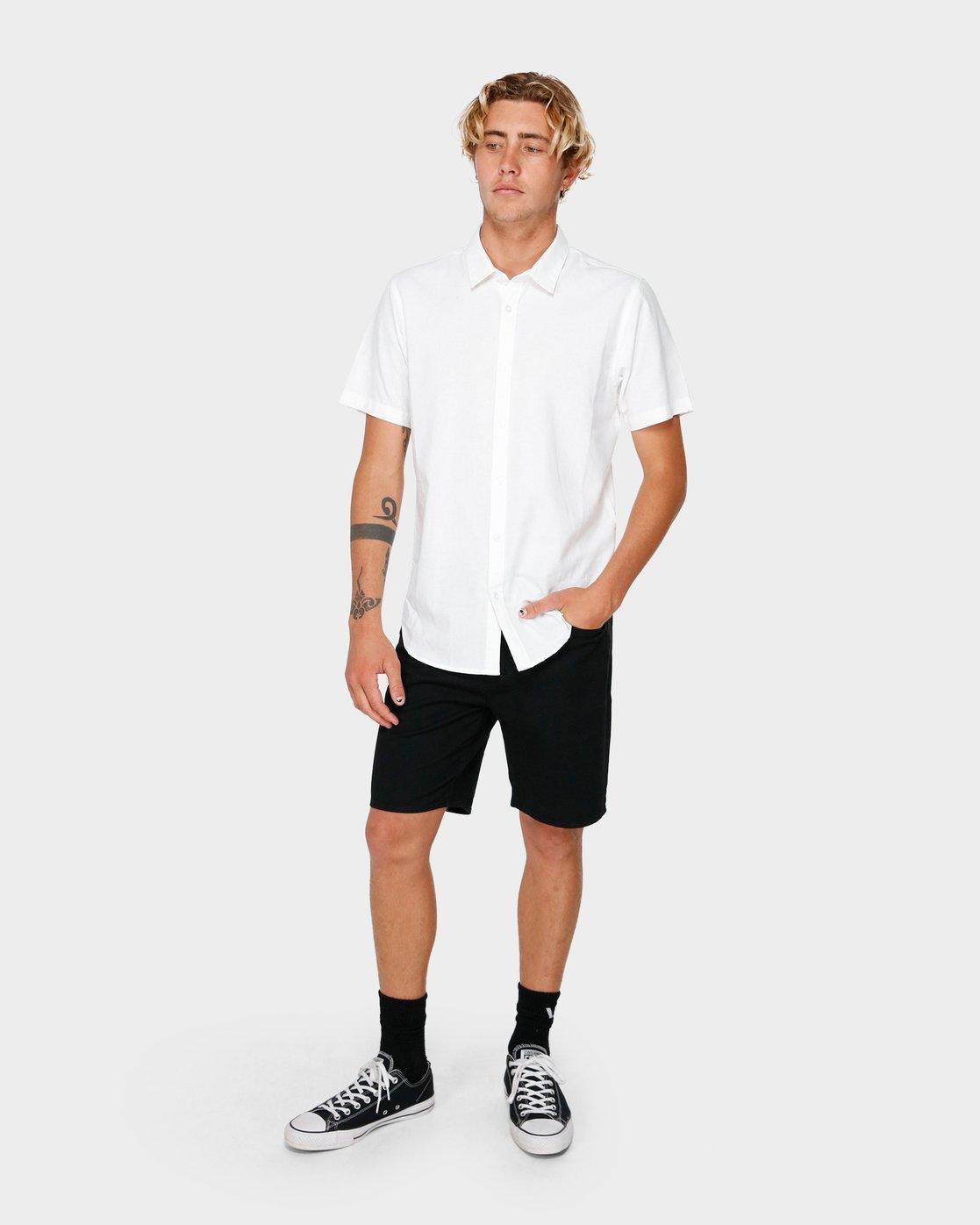 3 Crushed Short Sleeve Shirt White R182191 RVCA