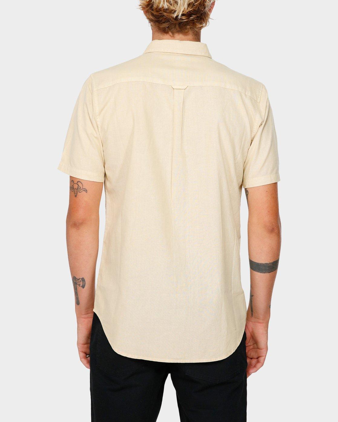 3 Crushed Short Sleeve Shirt Beige R182191 RVCA