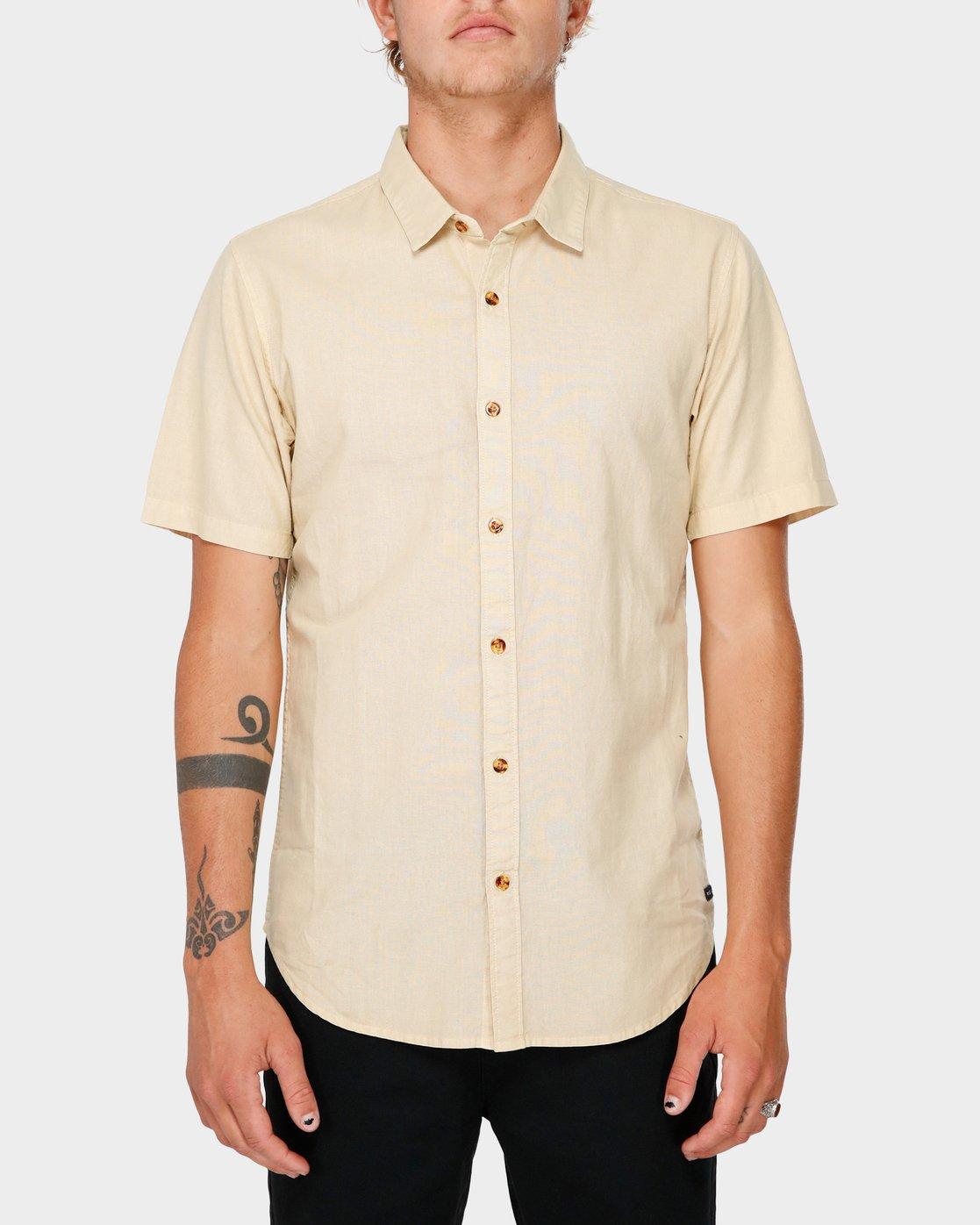 0 Crushed Short Sleeve Shirt Beige R182191 RVCA