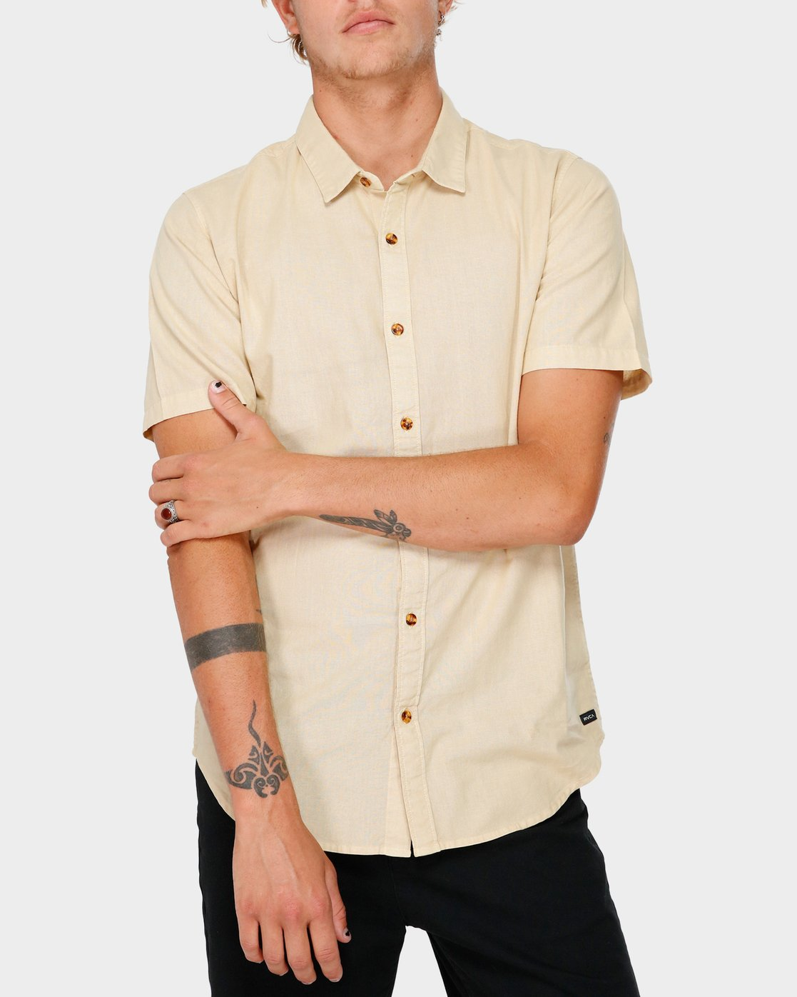 1 Crushed Short Sleeve Shirt Beige R182191 RVCA