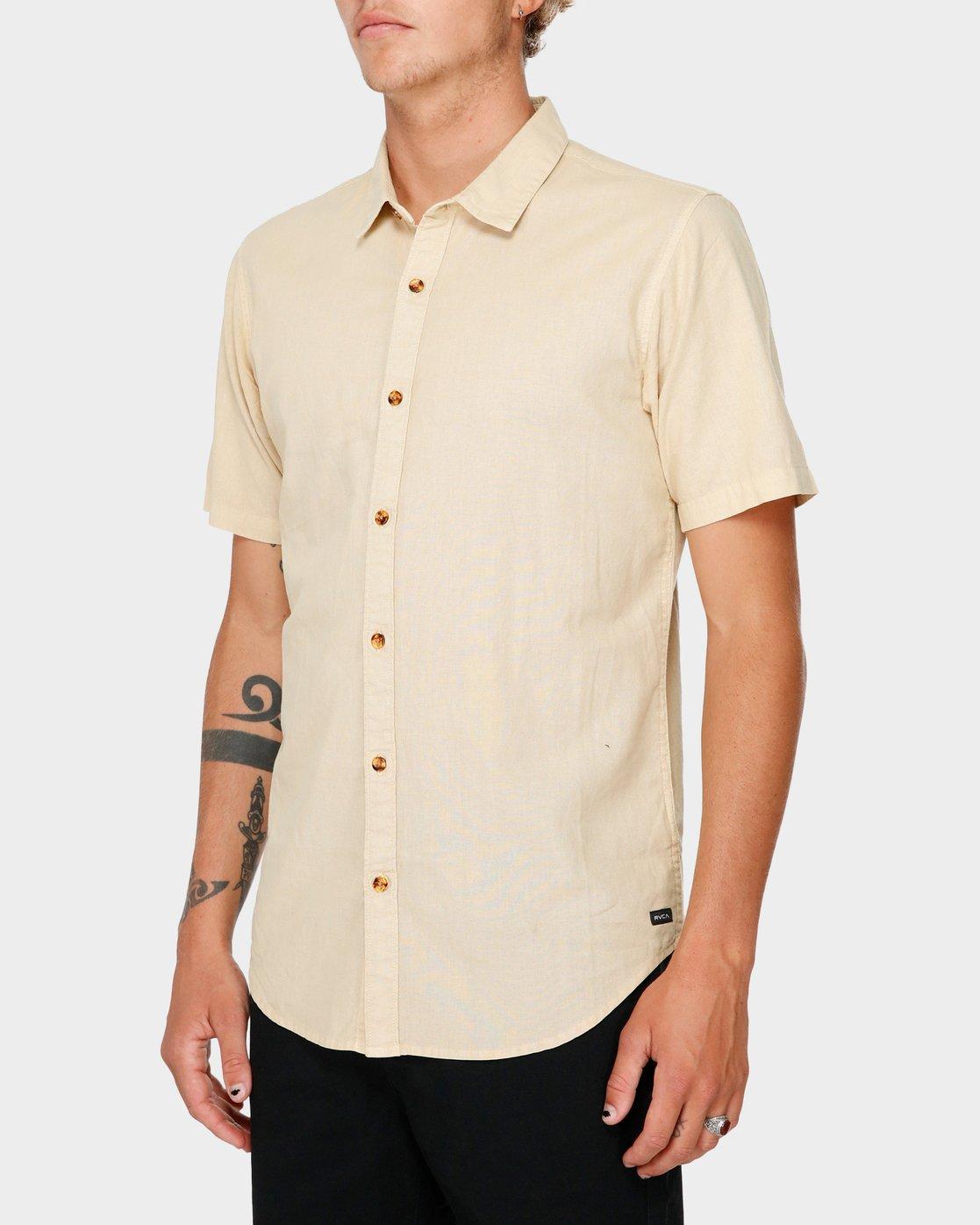 2 Crushed Short Sleeve Shirt Beige R182191 RVCA