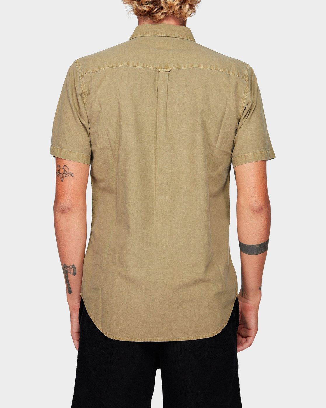 2 Crushed Short Sleeve Shirt Yellow R182191 RVCA