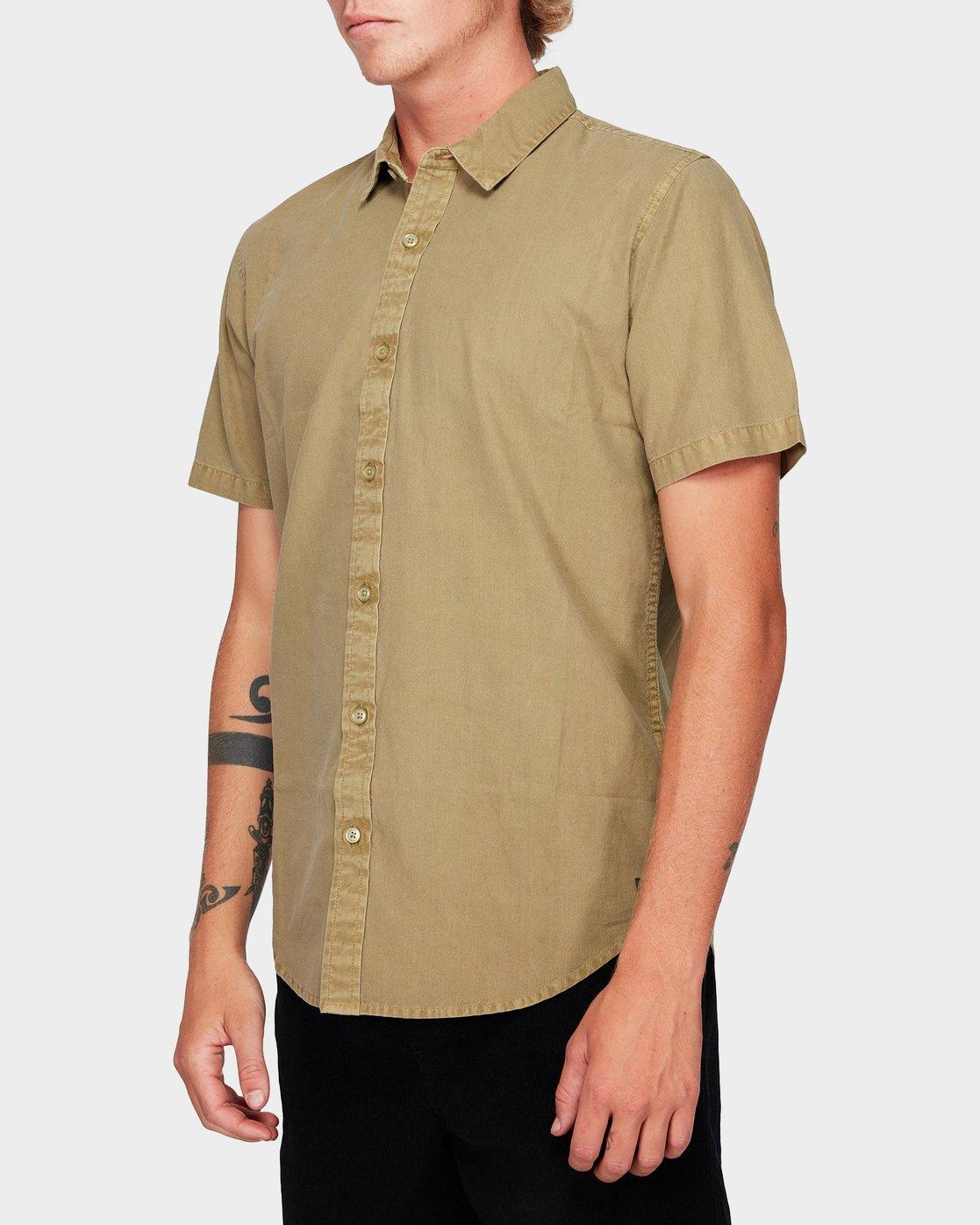 1 Crushed Short Sleeve Shirt Yellow R182191 RVCA