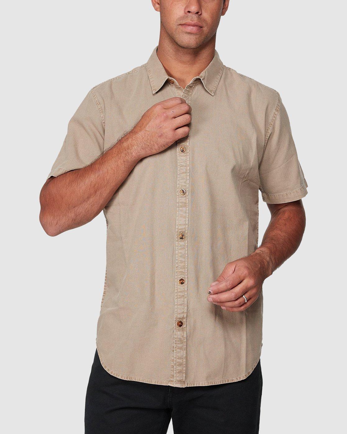 1 Crushed Short Sleeve Shirt Brown R182191 RVCA