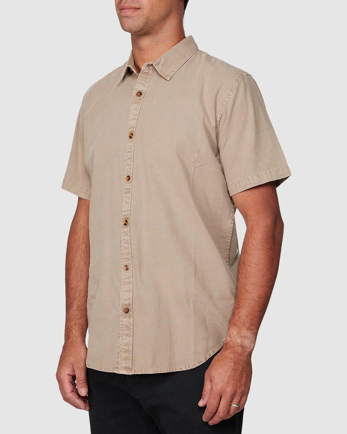 2 Crushed Short Sleeve Shirt Brown R182191 RVCA