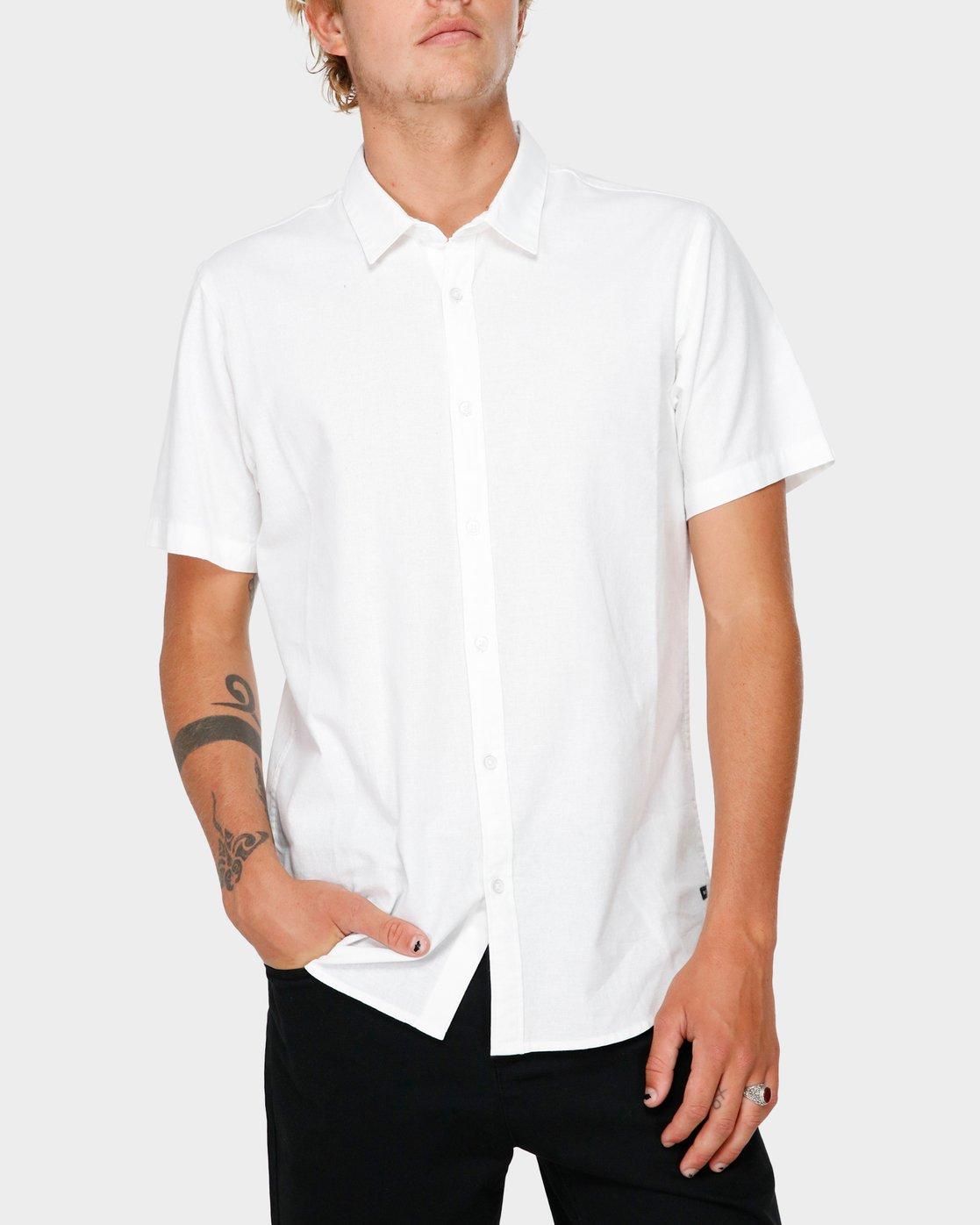 1 Crushed Short Sleeve Shirt White R182191 RVCA