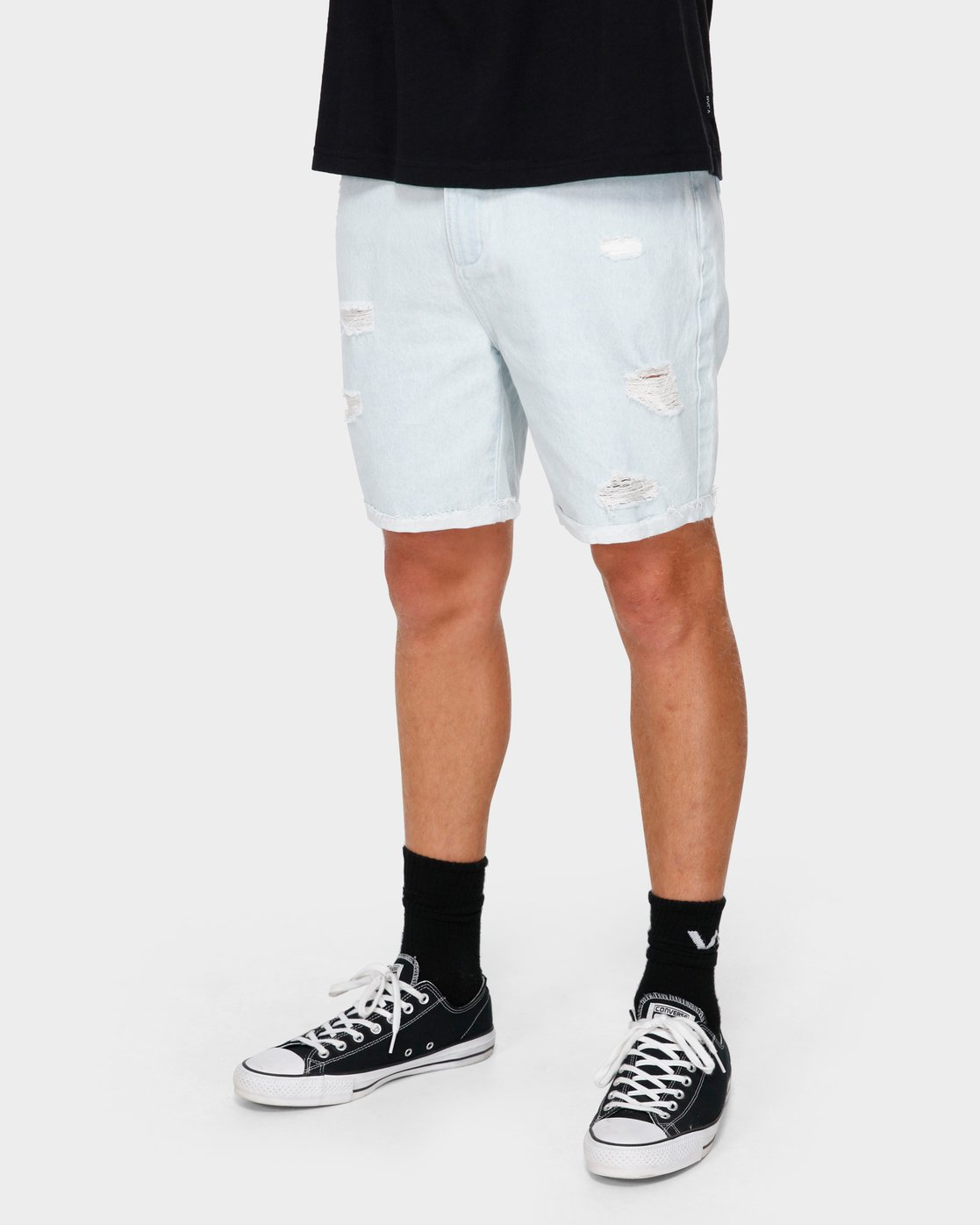 6 RVCA Rockers Cuffed Denim Short White R182317 RVCA