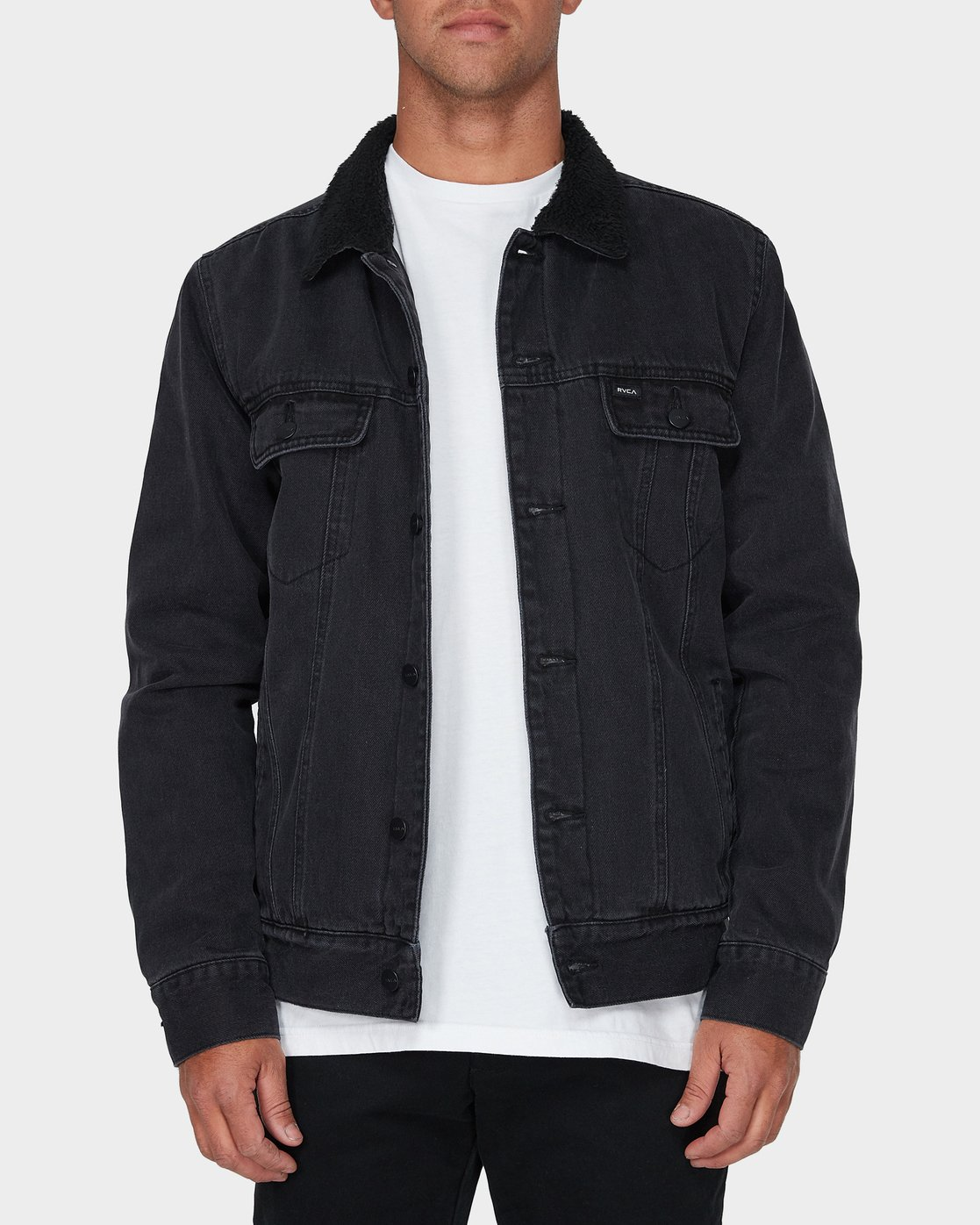 0 Daggers Denim Sherpa Jacket Black R183445 RVCA