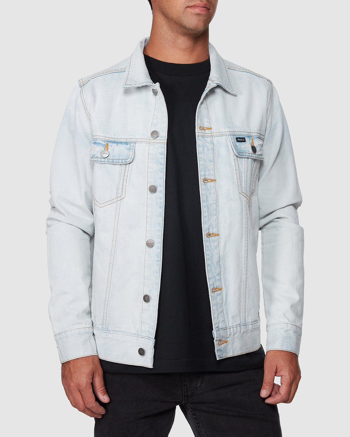 1 RVCA DISTRESSED DENIM JACKET White R183446 RVCA