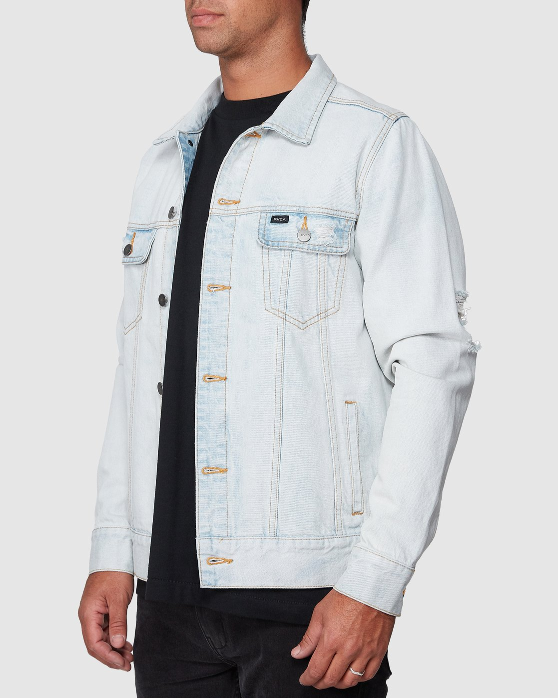 2 RVCA Distressed Denim Jacket White R183446 RVCA