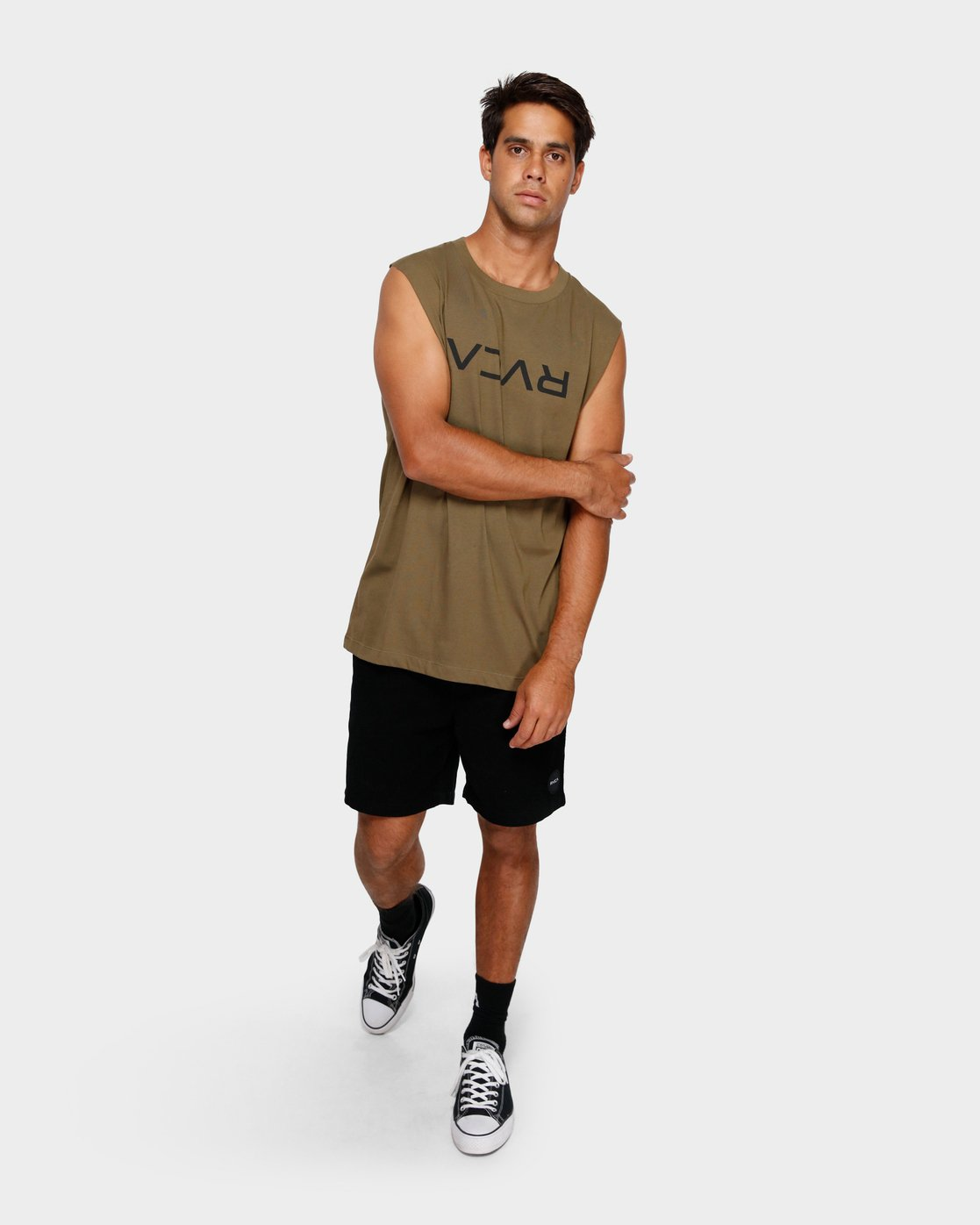 4 RVCA Flipped Muscle Tee Green R191010 RVCA