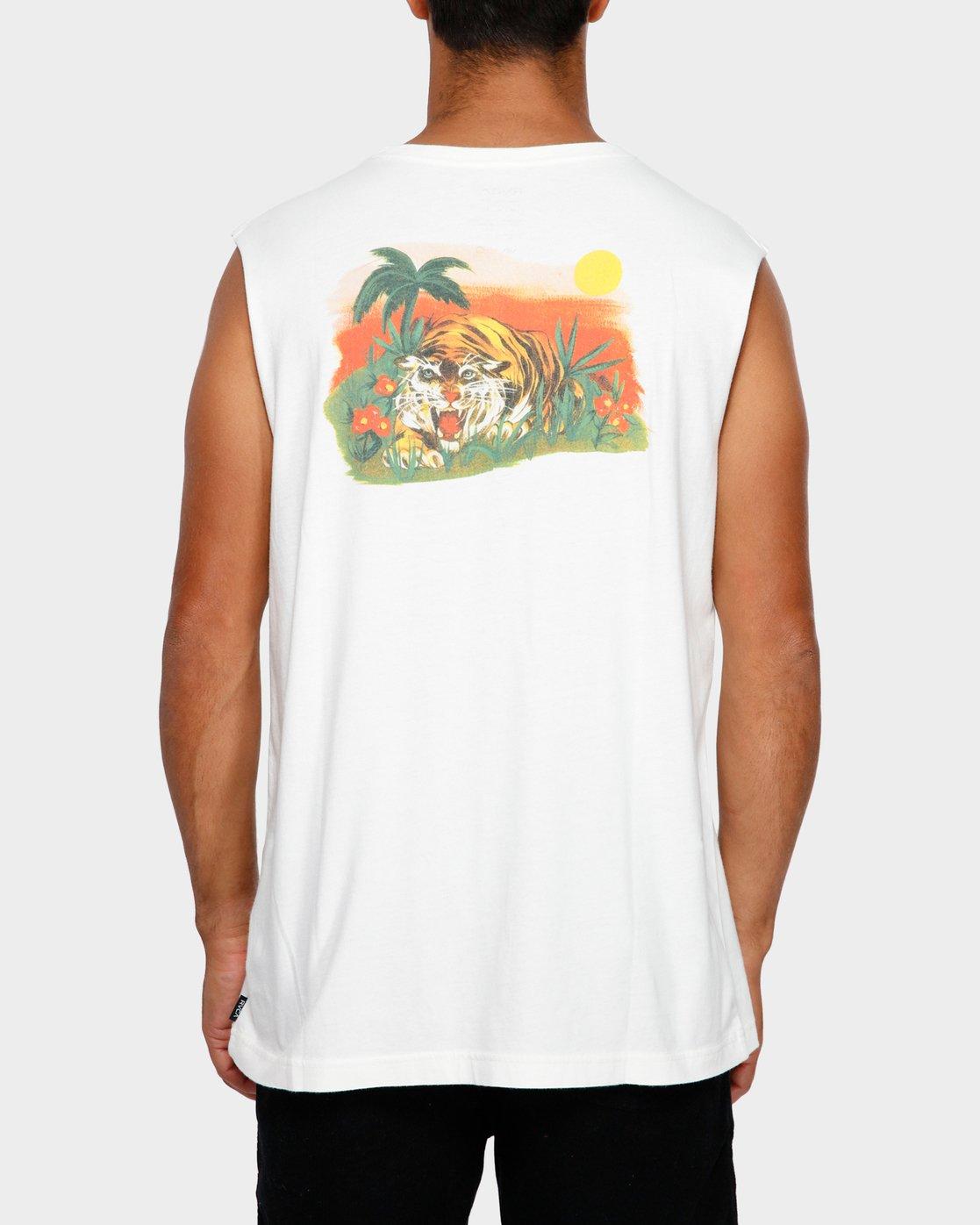 4 Jungle Muscle T-Shirt White R191013 RVCA