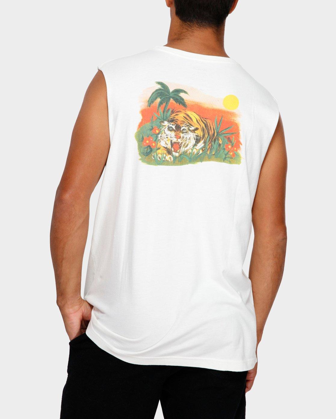 1 Jungle Muscle T-Shirt White R191013 RVCA