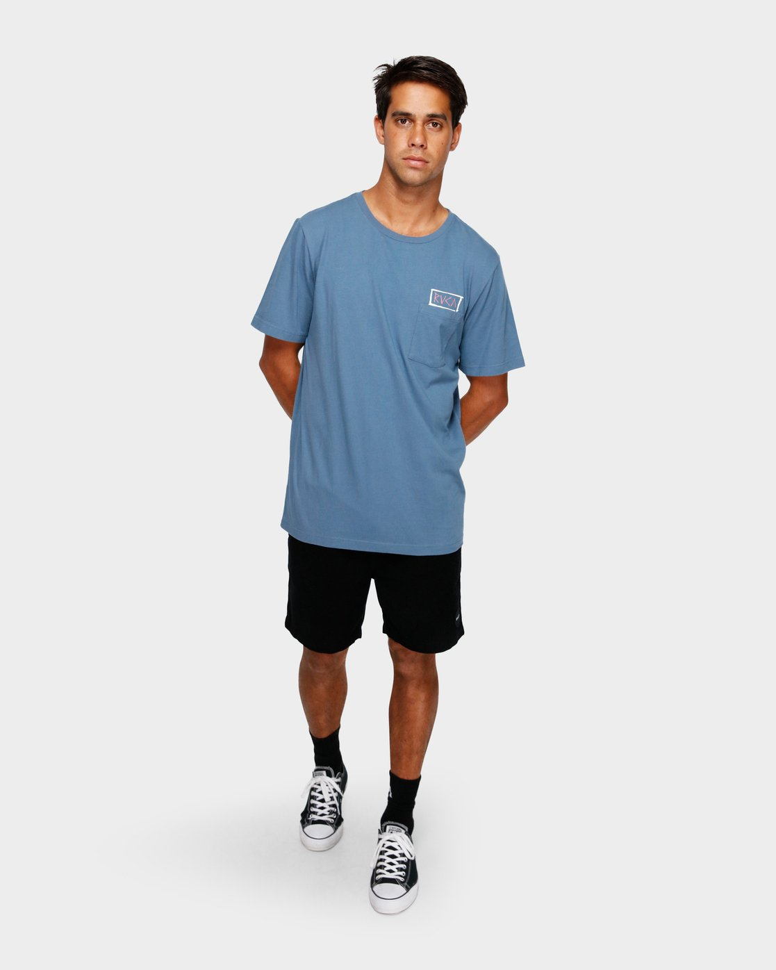 5 RVCA Blocker T-Shirt Blue R191044 RVCA