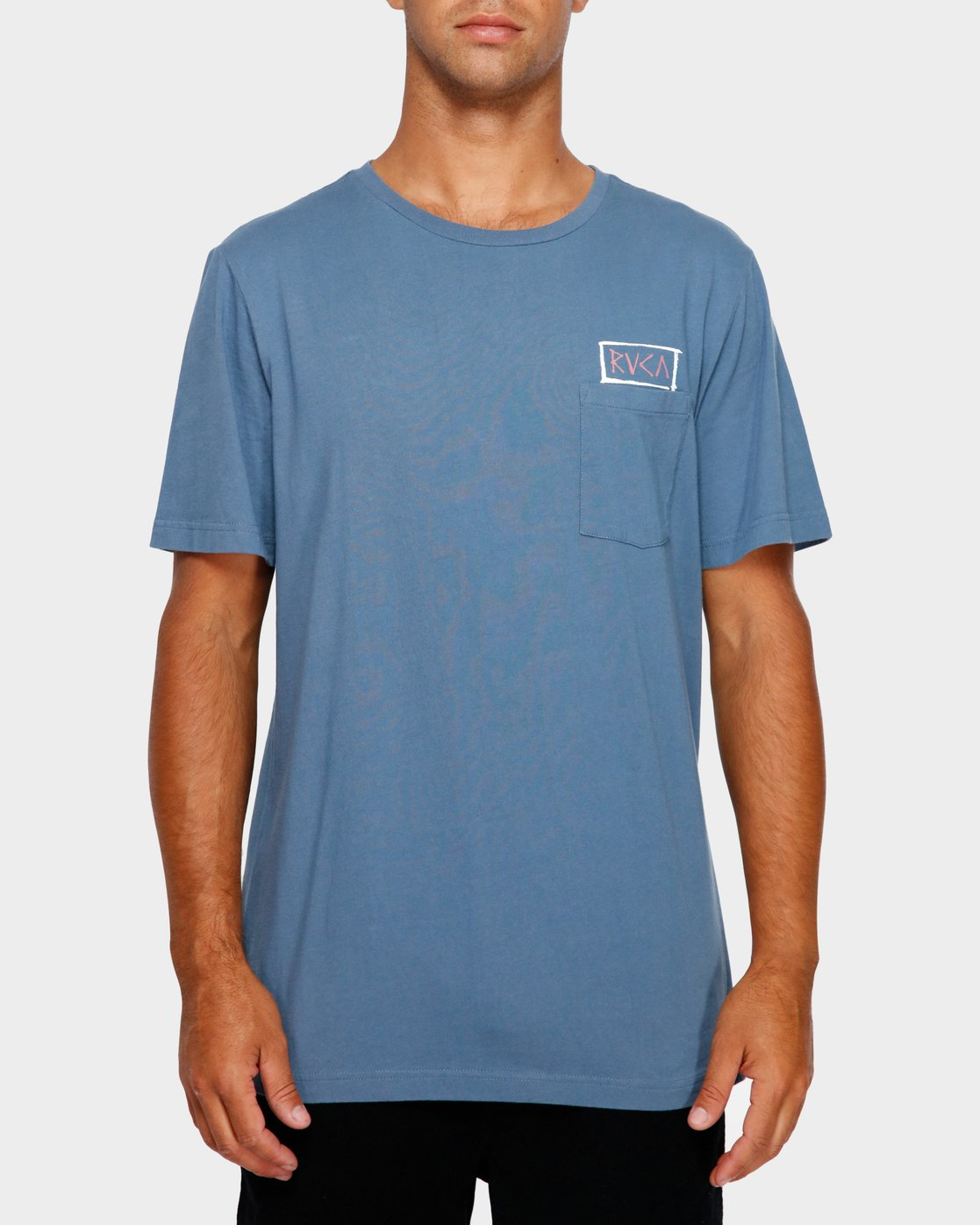 2 RVCA Blocker T-Shirt Blue R191044 RVCA