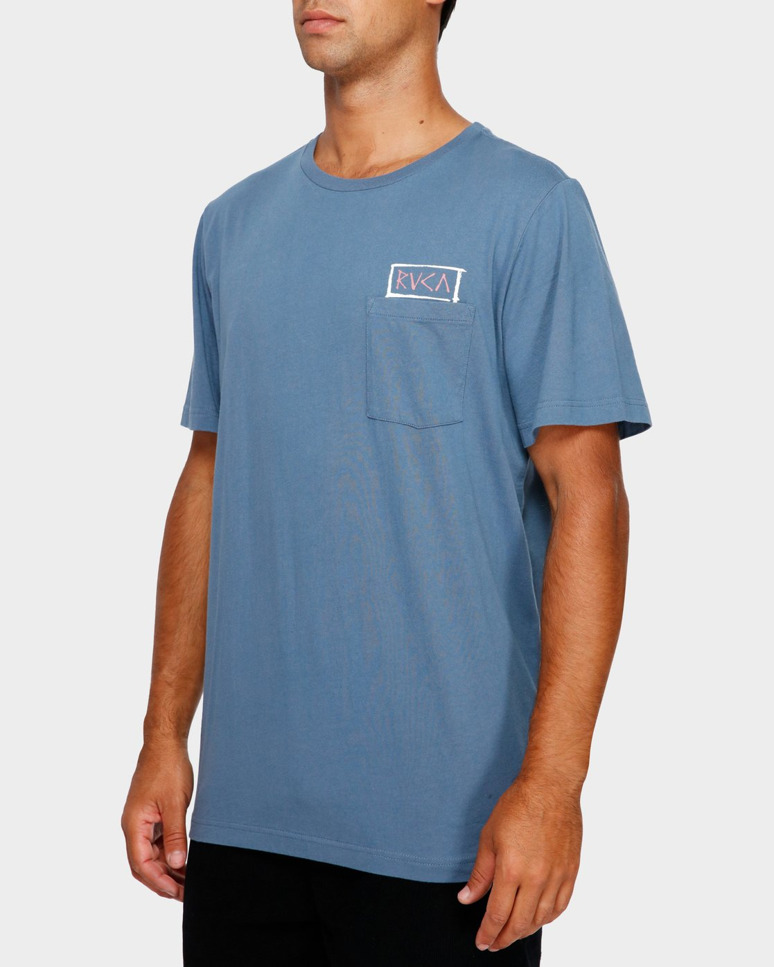 3 RVCA Blocker T-Shirt Blue R191044 RVCA