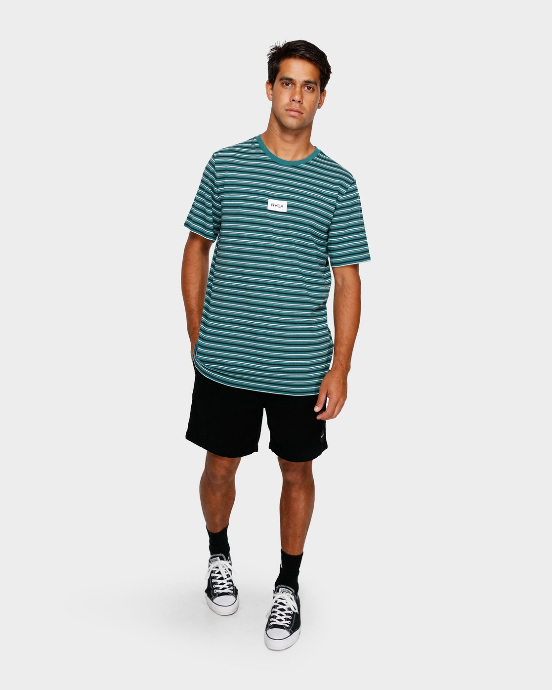 4 RVCA Focus Stripe T-Shirt Green R191049 RVCA