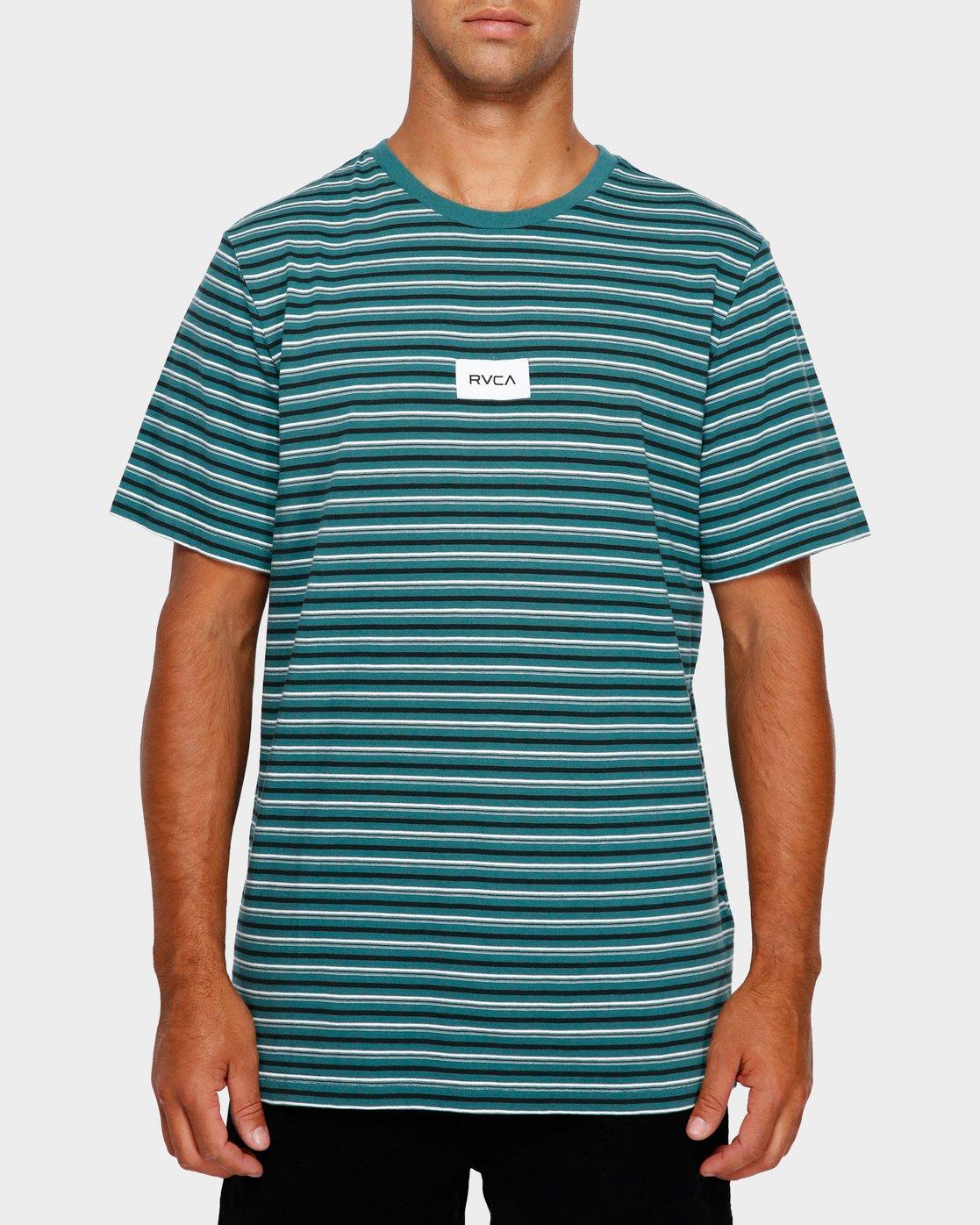 1 RVCA Focus Stripe T-Shirt Green R191049 RVCA