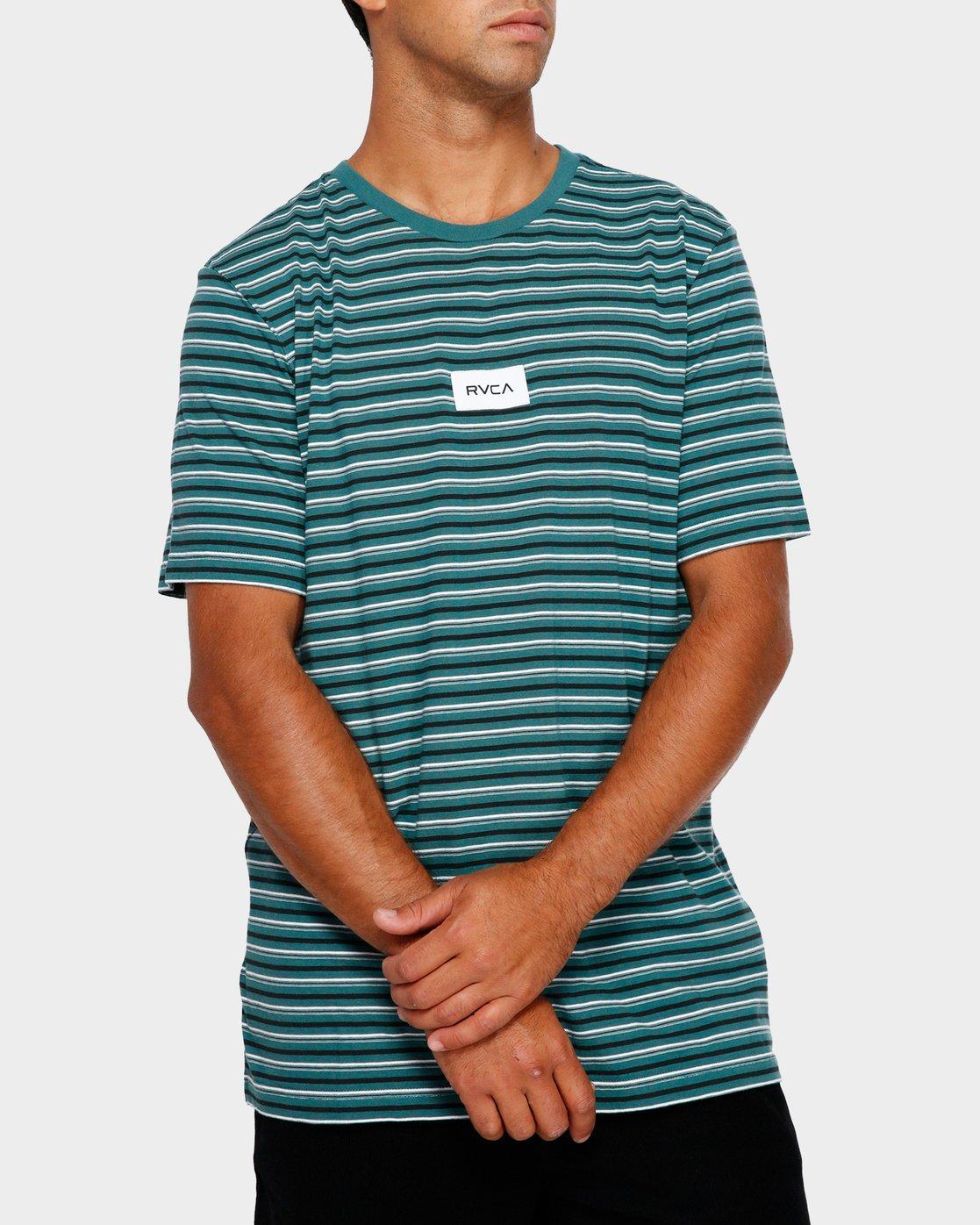 0 RVCA Focus Stripe T-Shirt Green R191049 RVCA