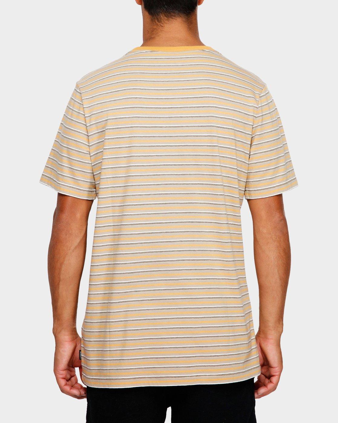 3 RVCA Focus Stripe T-Shirt Yellow R191049 RVCA