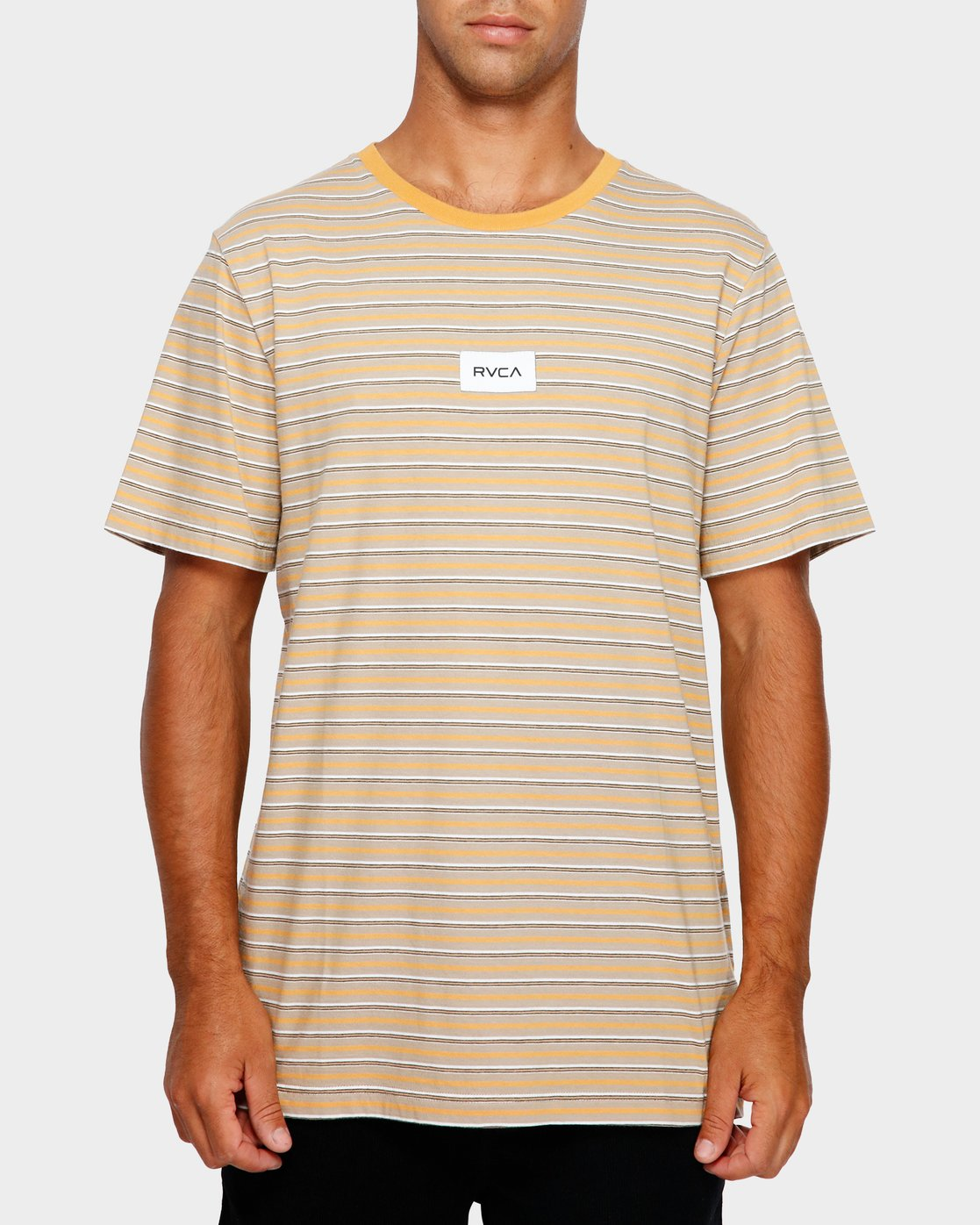 1 RVCA Focus Stripe T-Shirt Yellow R191049 RVCA