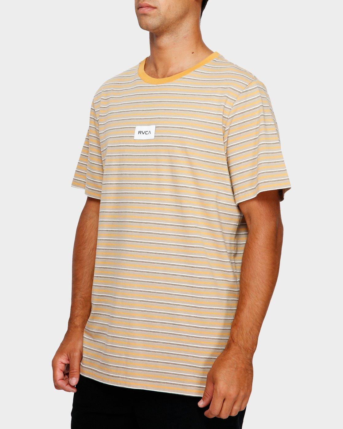 2 RVCA Focus Stripe T-Shirt Yellow R191049 RVCA