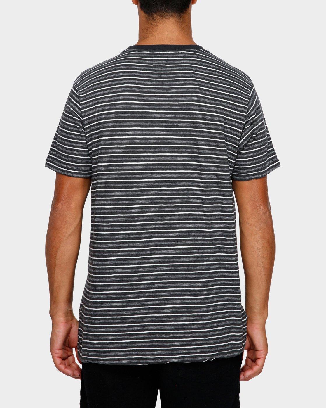3 Foz Stripe T-Shirt Black R191065 RVCA