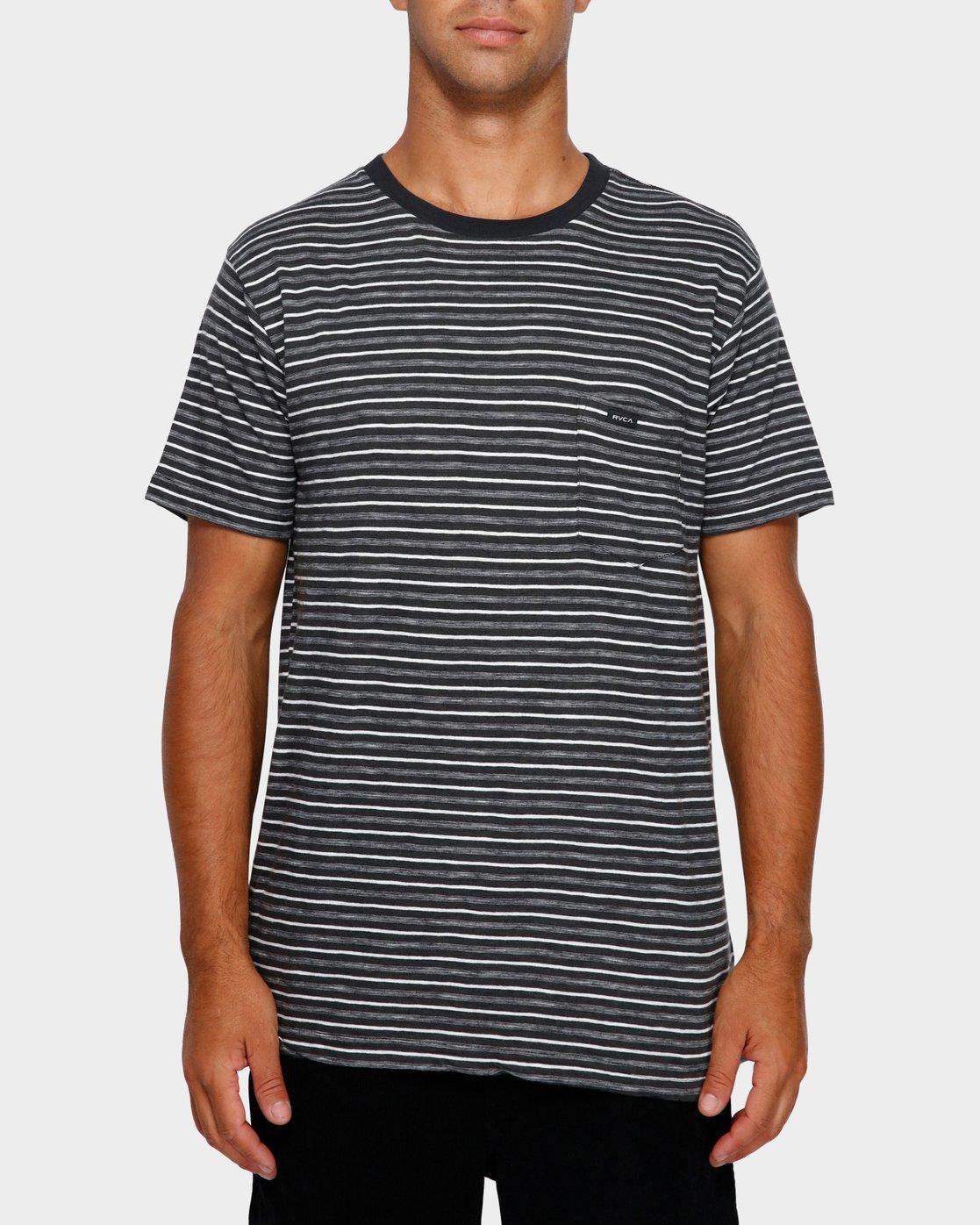 1 Foz Stripe T-Shirt Black R191065 RVCA