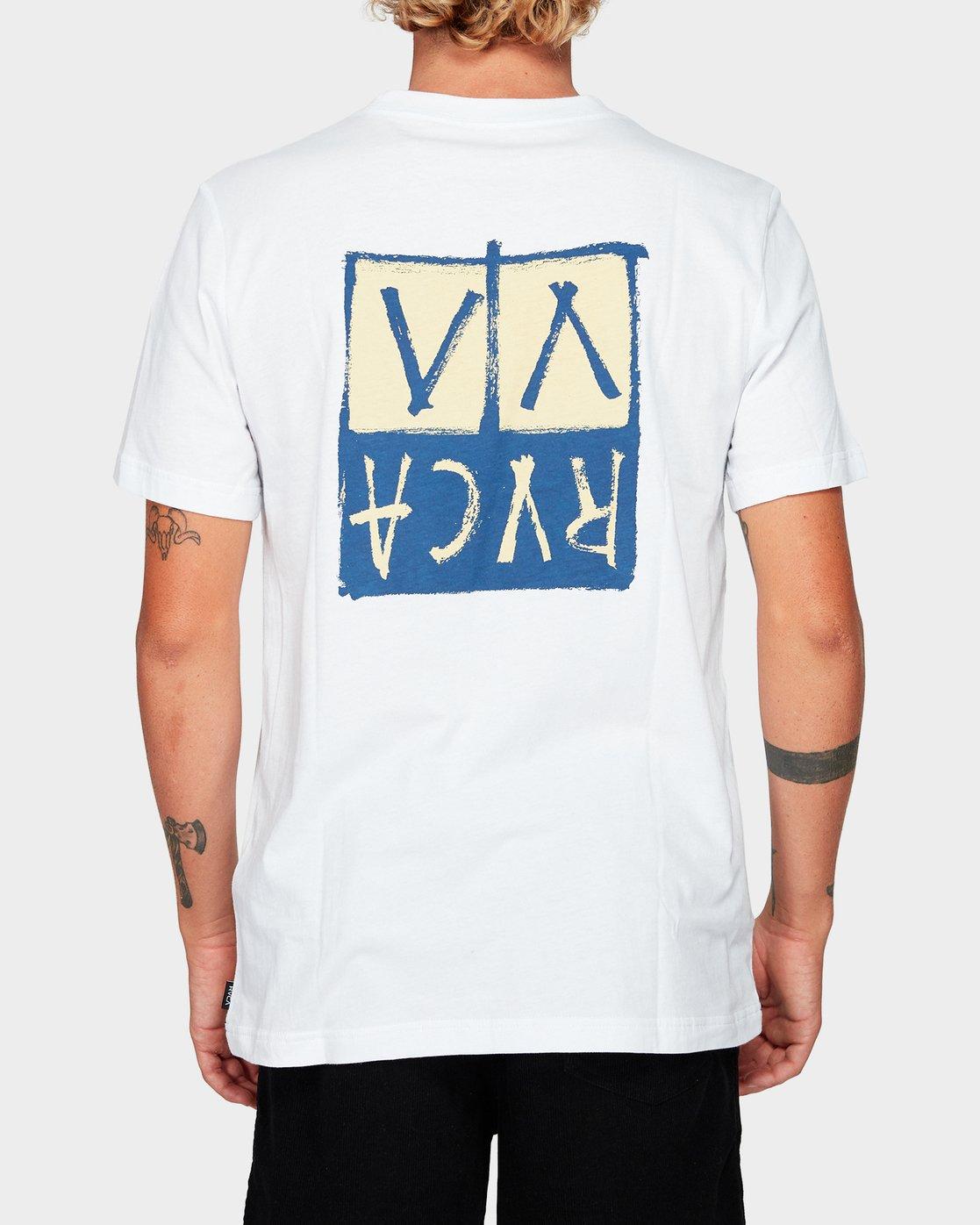 2 RVCA Unplugged Short Sleeve T-Shirt White R192041 RVCA