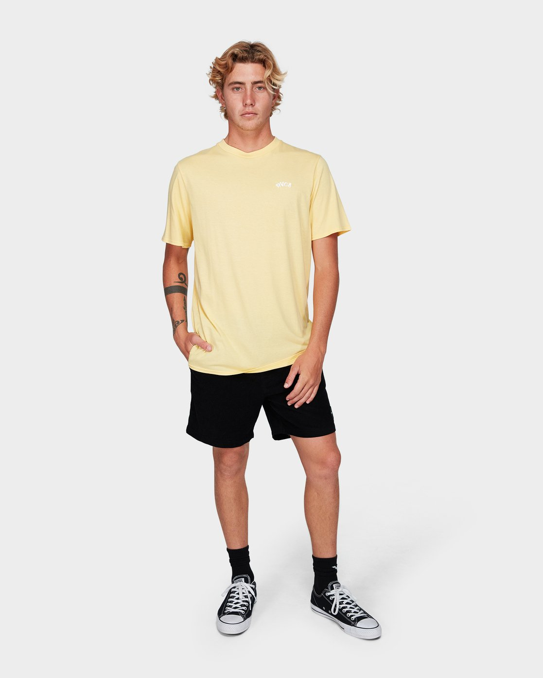 3 Offshore Short Sleeve T-Shirt Yellow R192042 RVCA