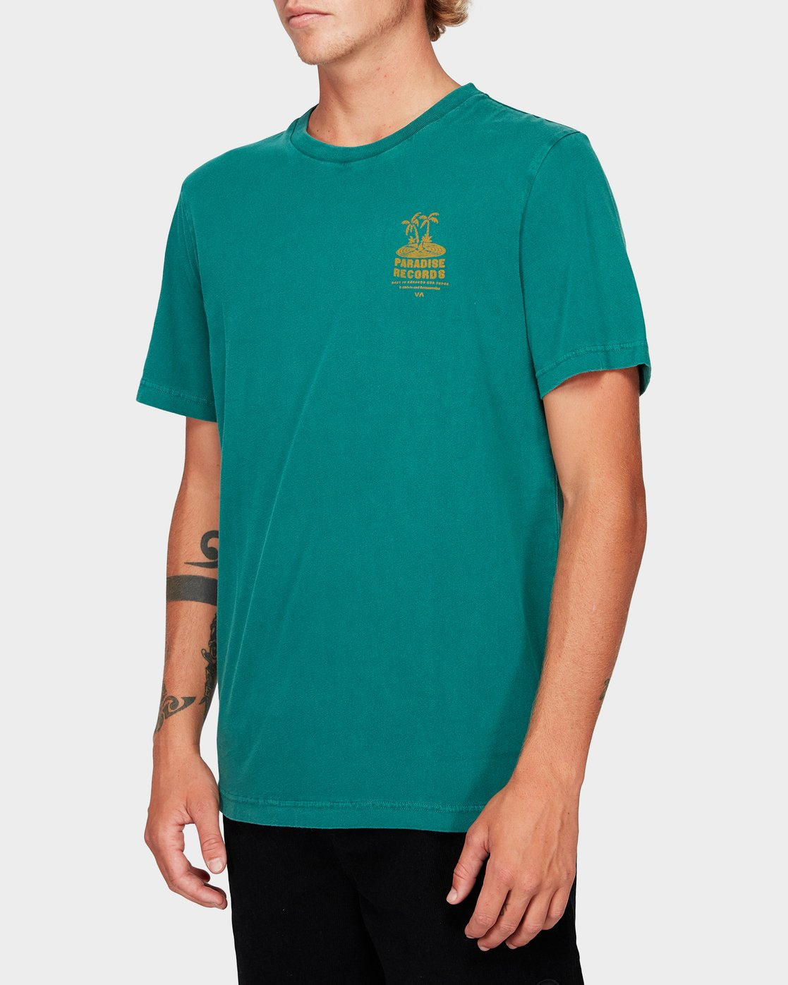 1 Paradise Records Short Sleeve T-Shirt Green R192044 RVCA