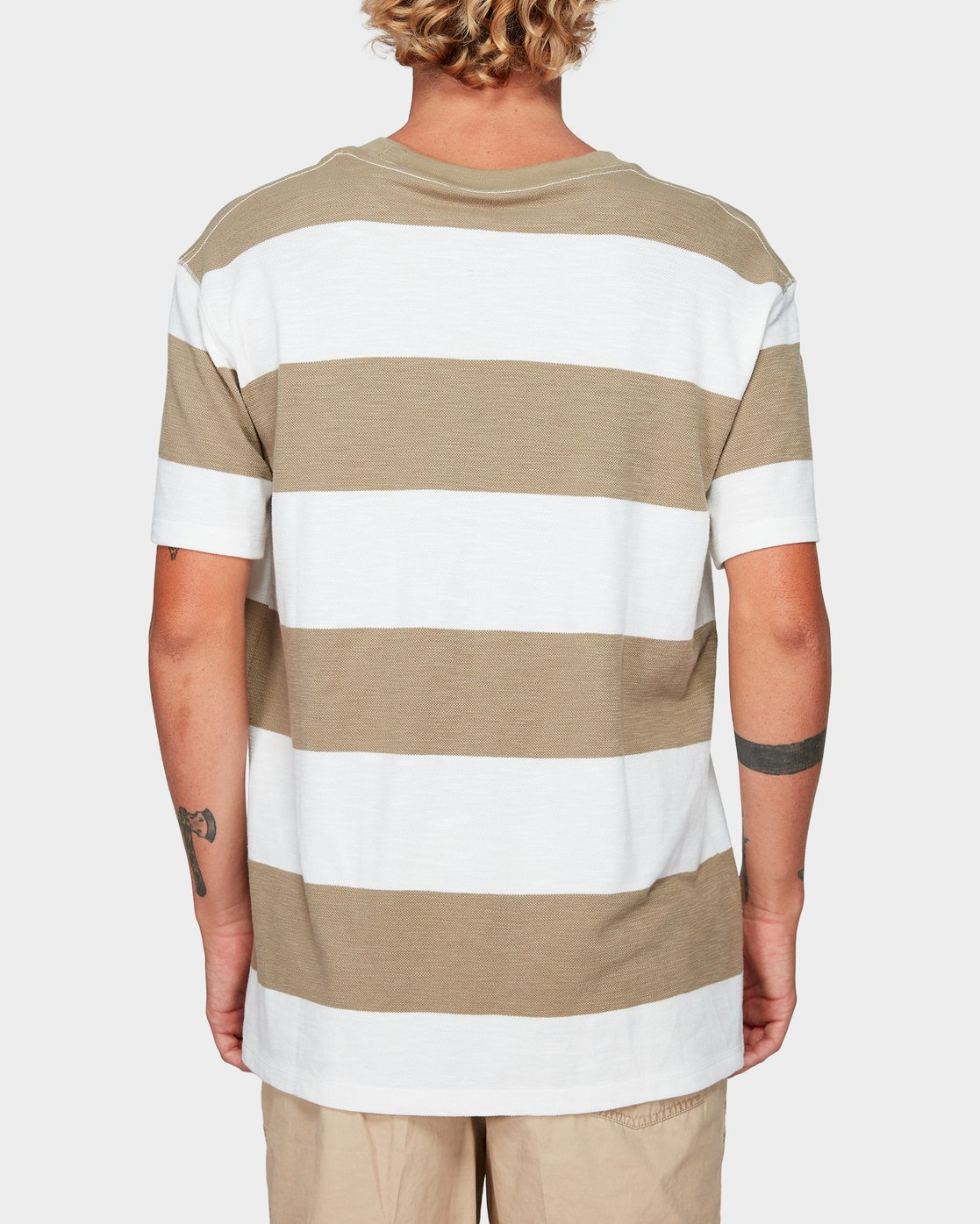 2 Records Stripe Short Sleeve T-Shirt Yellow R192047 RVCA
