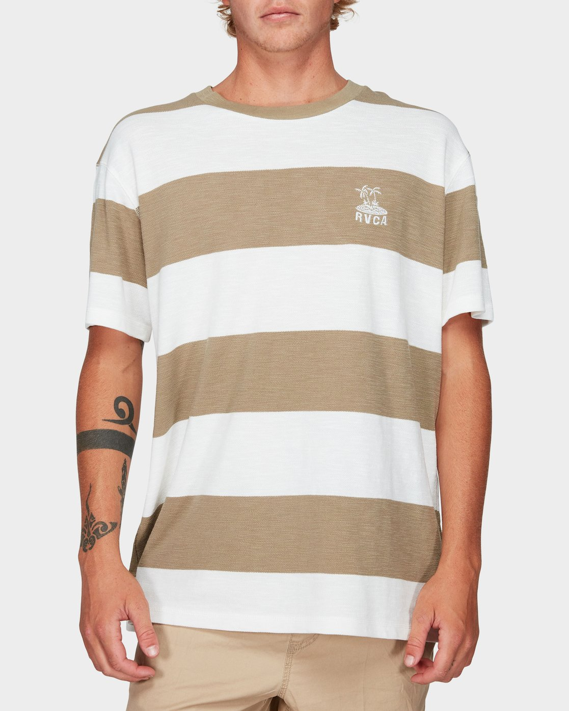 0 Records Stripe Short Sleeve T-Shirt Yellow R192047 RVCA