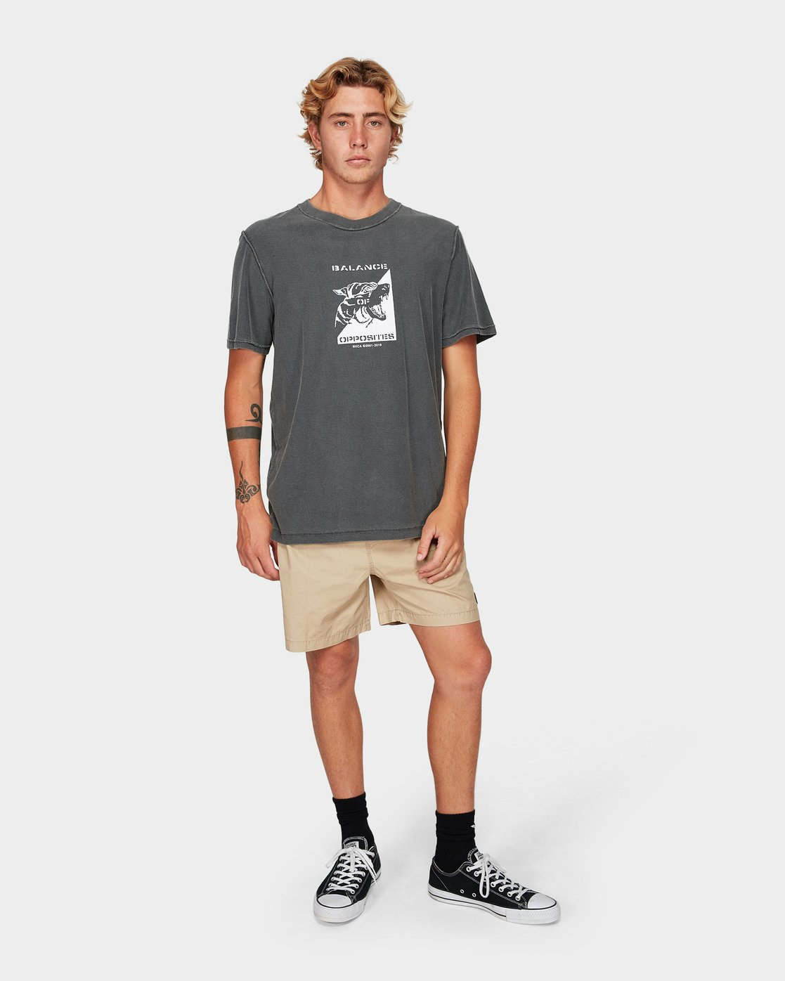 3 Beware Short Sleeve T-Shirt Black R192048 RVCA