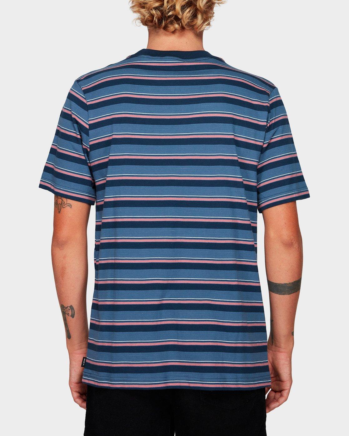 2 Curtis Stripe Short Sleeve T-Shirt Blue R192052 RVCA