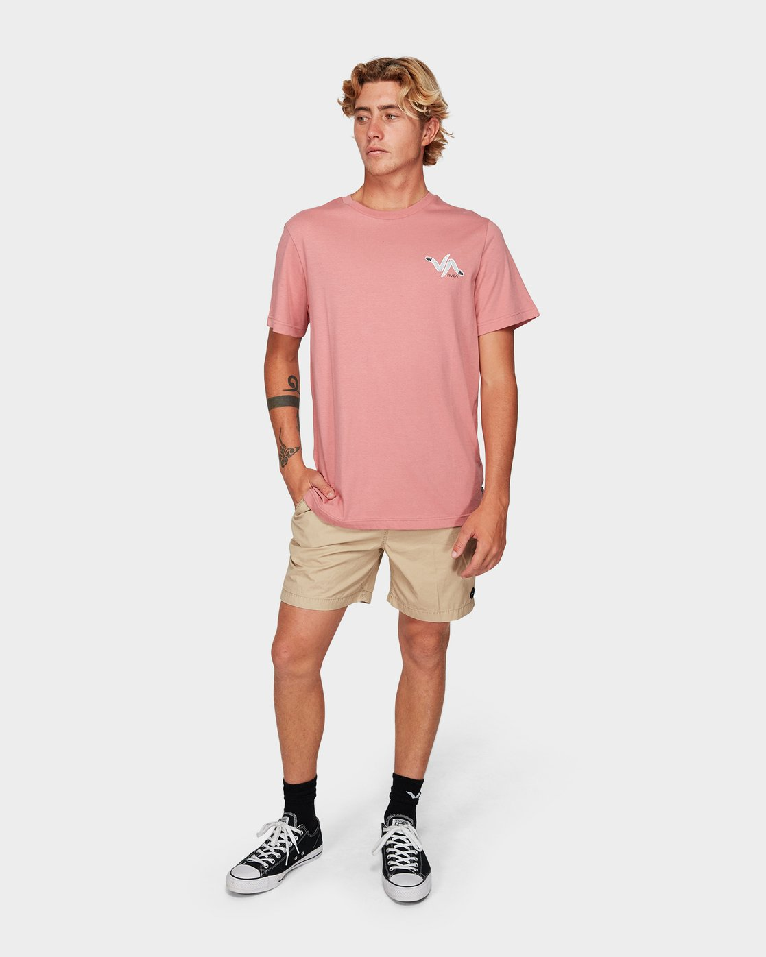 3 Snakey Snake Short Sleeve T-Shirt Pink R192055 RVCA