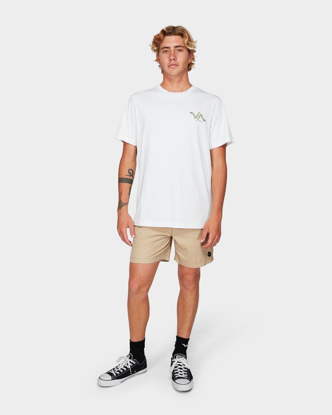 3 Snakey Snake Short Sleeve T-Shirt White R192055 RVCA