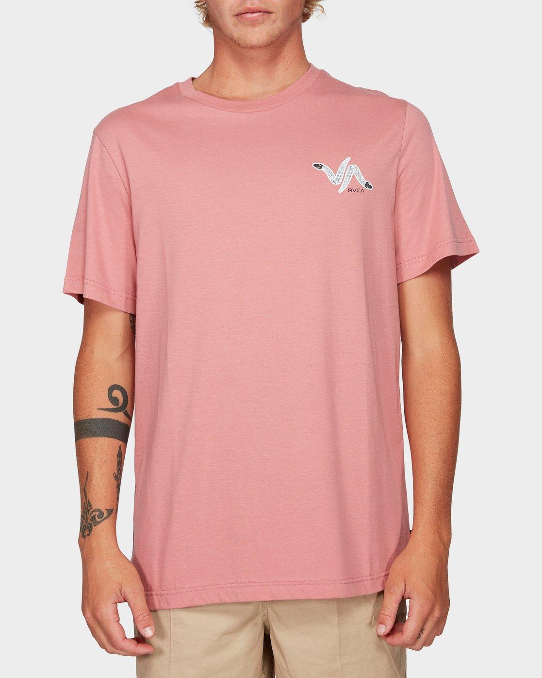 0 Snakey Snake Short Sleeve T-Shirt Pink R192055 RVCA