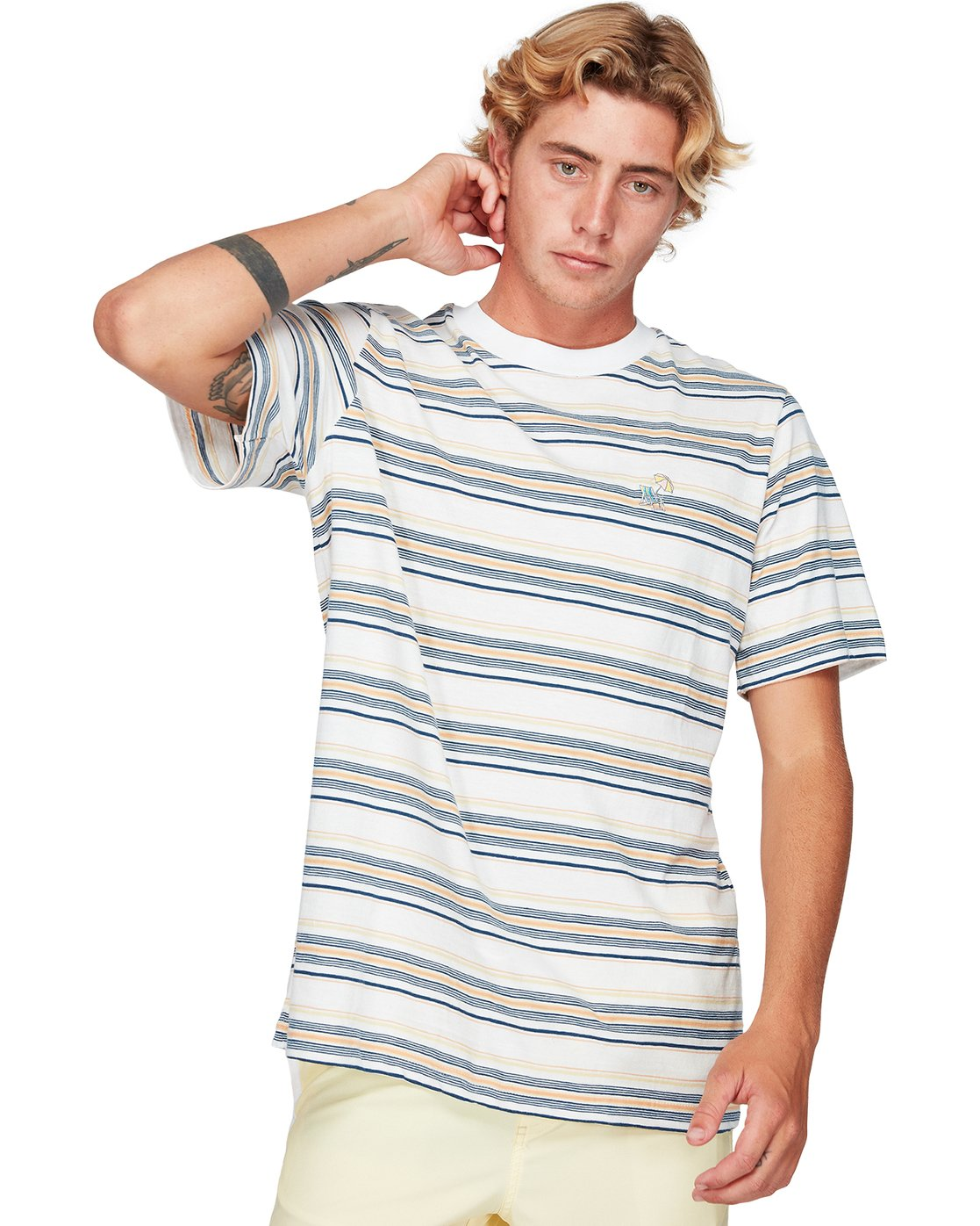 1 Southerly Stripe Short Sleeve T-Shirt White R192062 RVCA