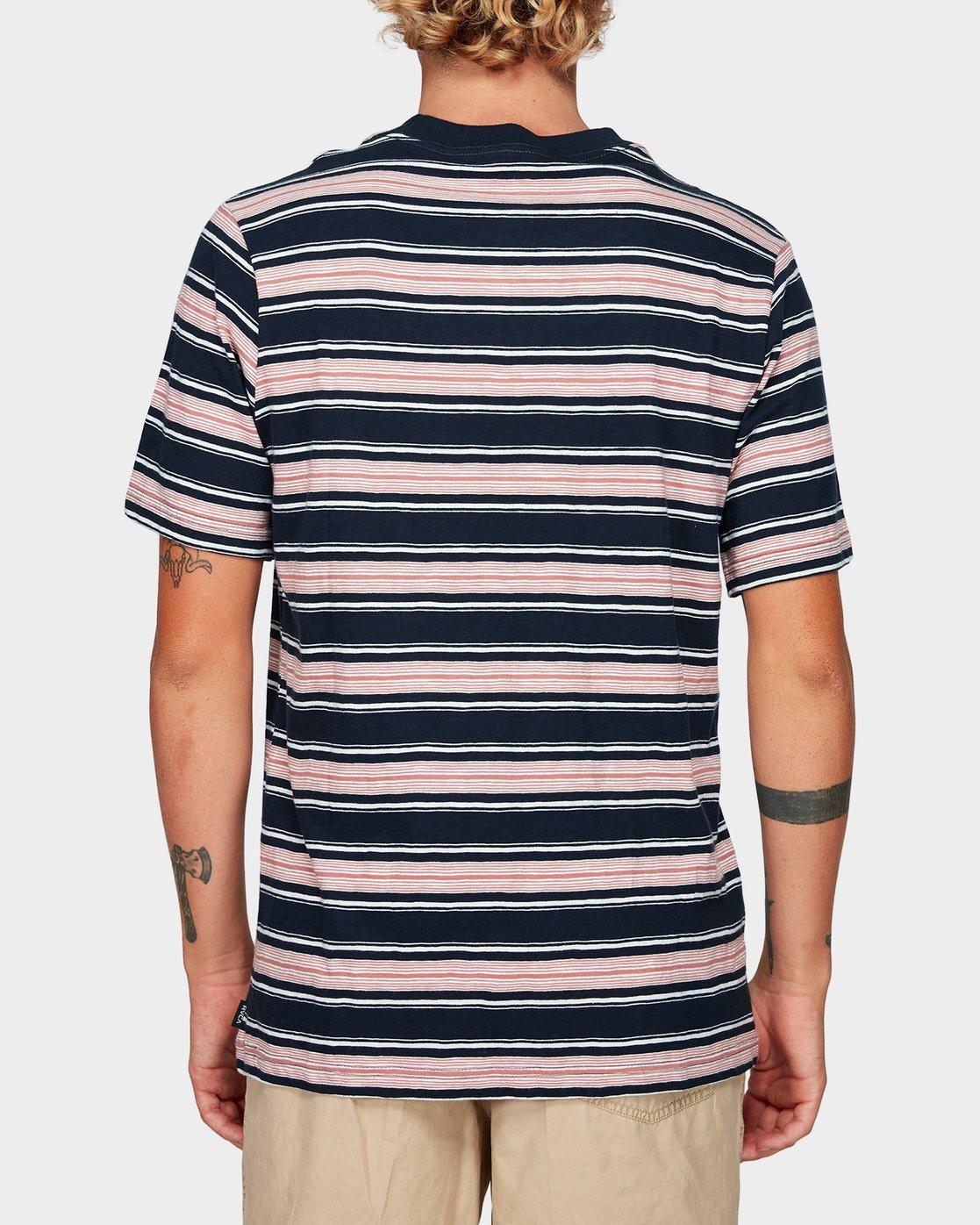 2 Hank Stripe Short Sleeve T-Shirt Blue R192063 RVCA