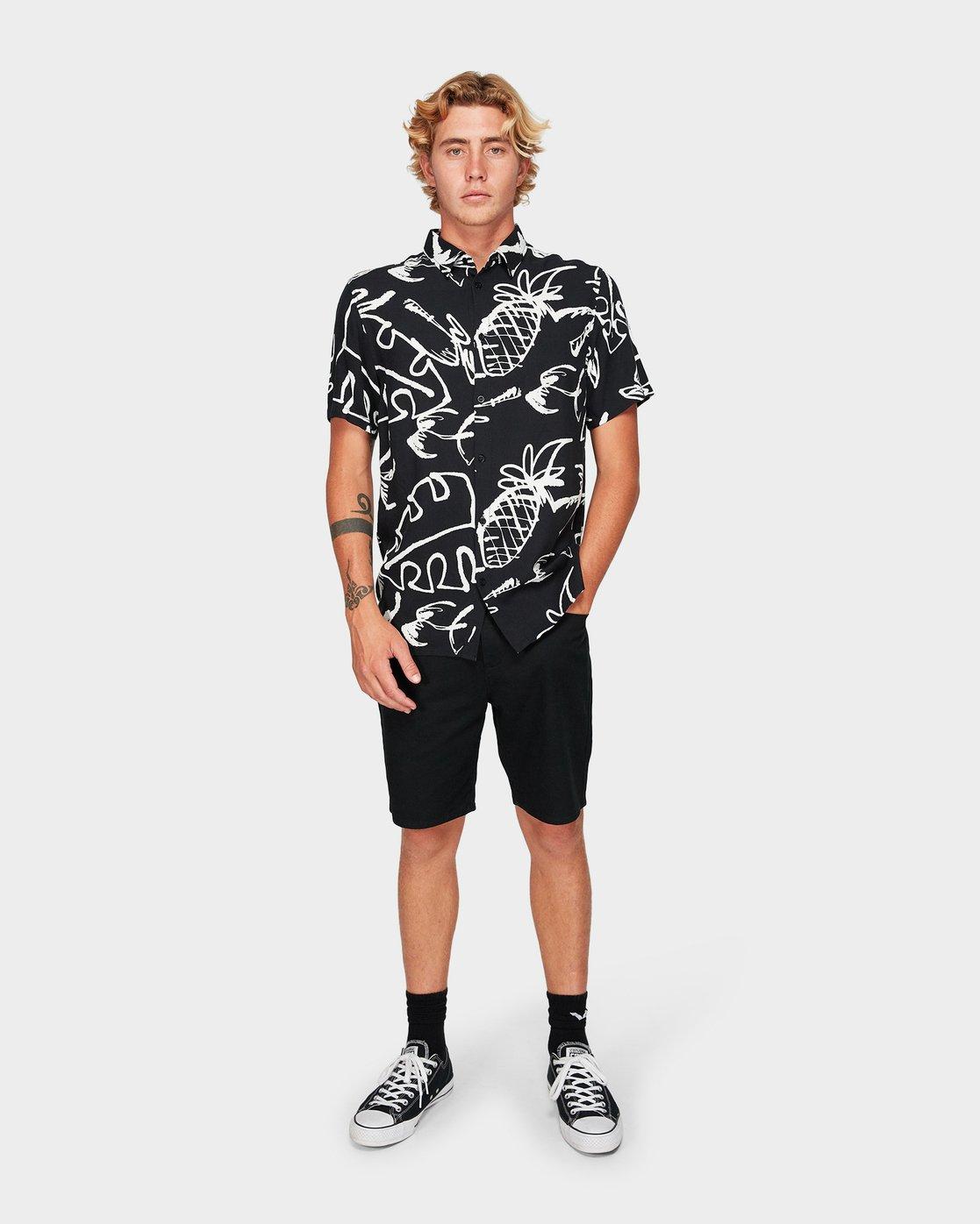4 Scribble Palm Short Sleeve Shirt  R192184 RVCA