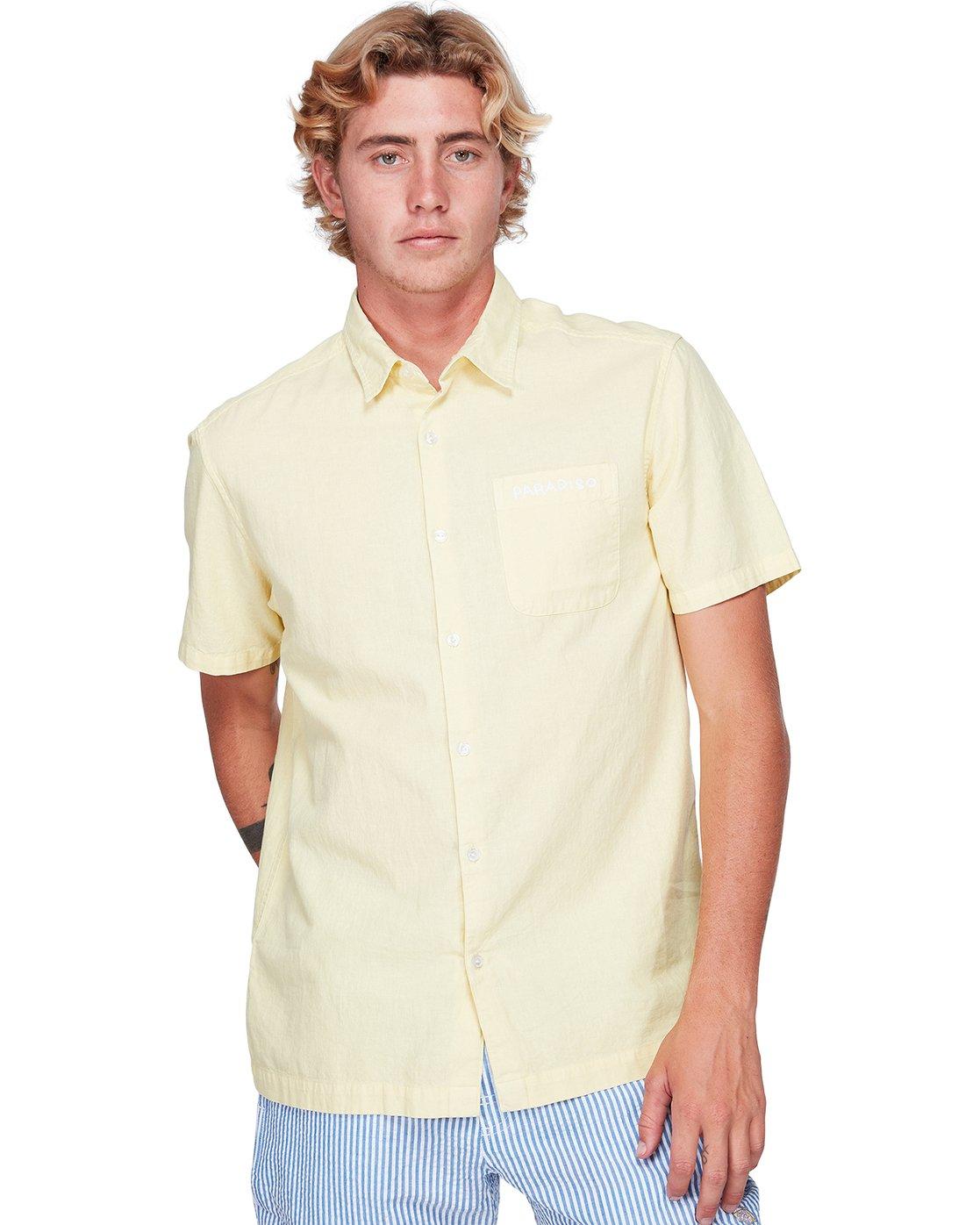 1 Paradiso Short Sleeve Shirt Yellow R192187 RVCA