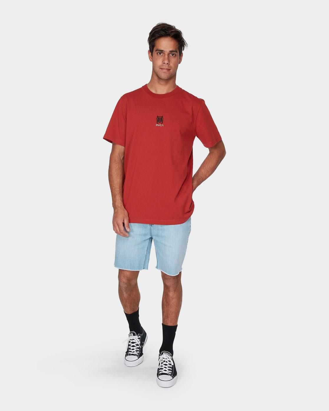 3 RVCA Crest Short Sleeve T-Shirt Red R193055 RVCA