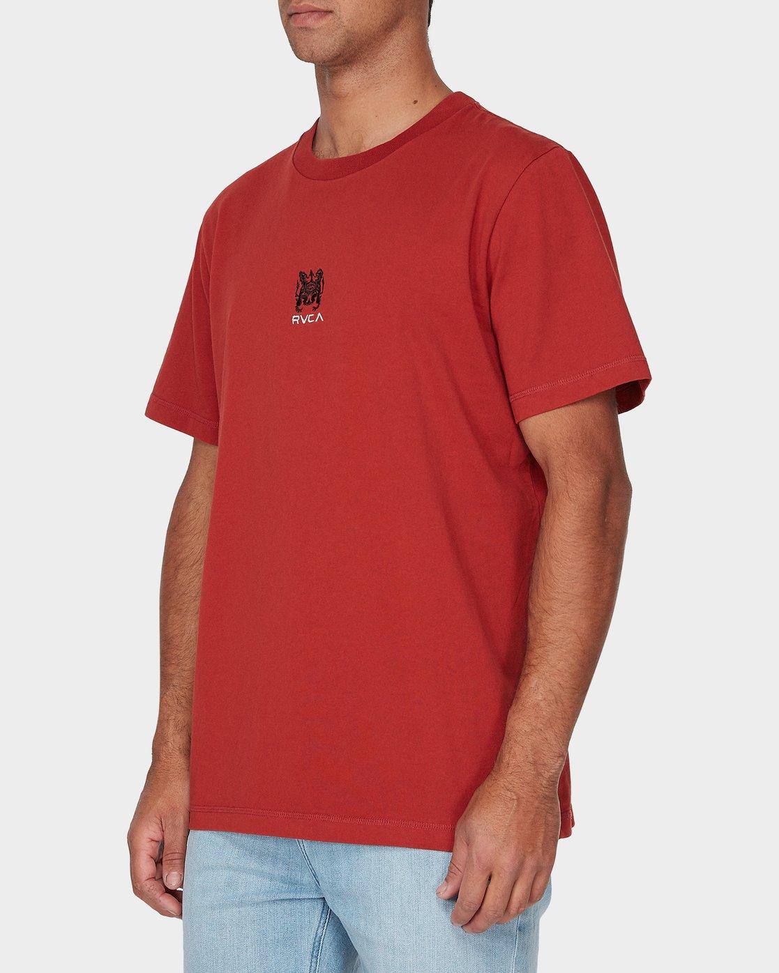 1 RVCA Crest Short Sleeve T-Shirt Red R193055 RVCA