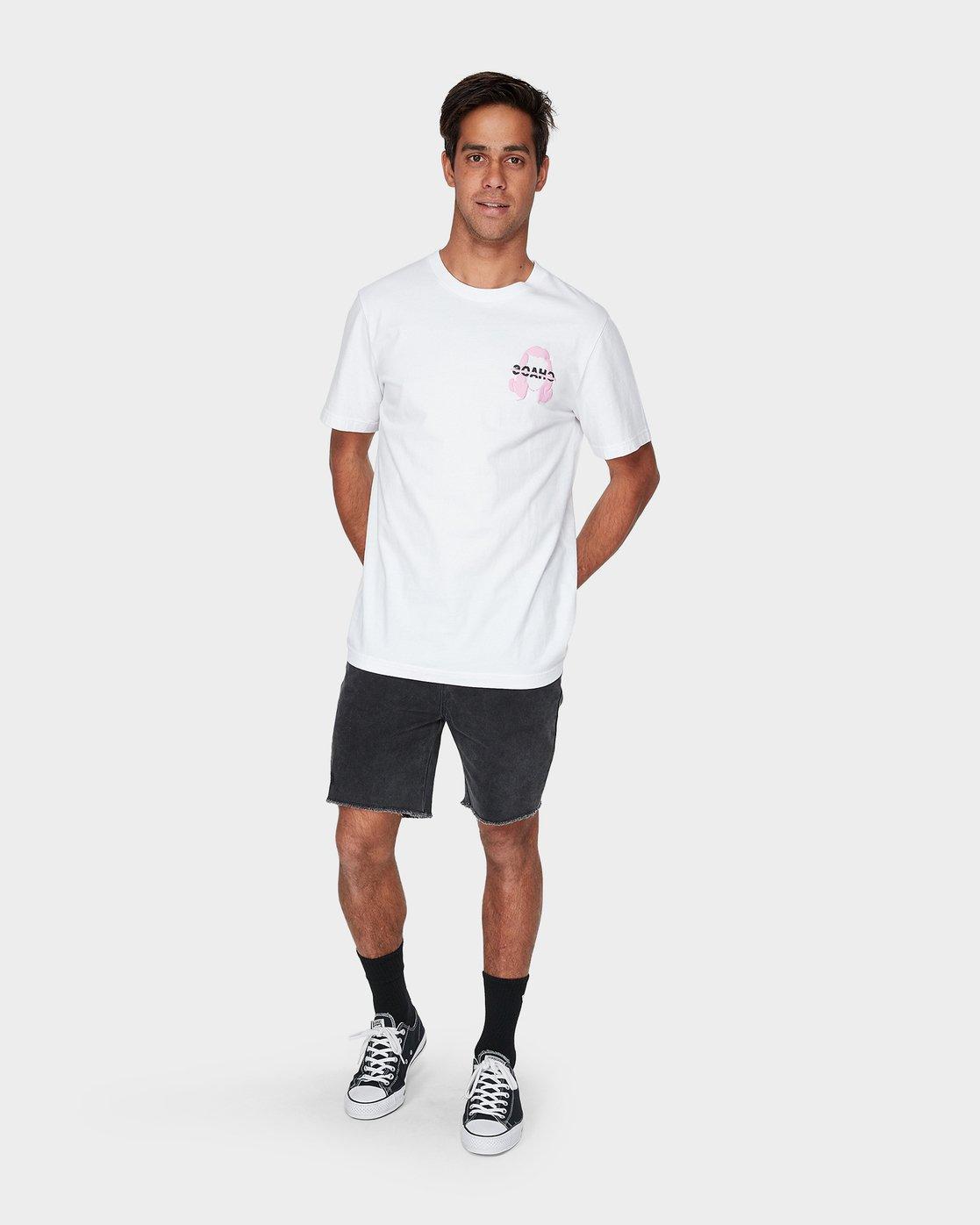 3 Chaos Short Sleeve T-Shirt White R193061 RVCA