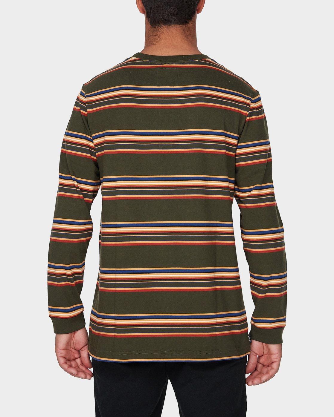 2 RVCA Crest Long Sleeve T-Shirt Green R193097 RVCA