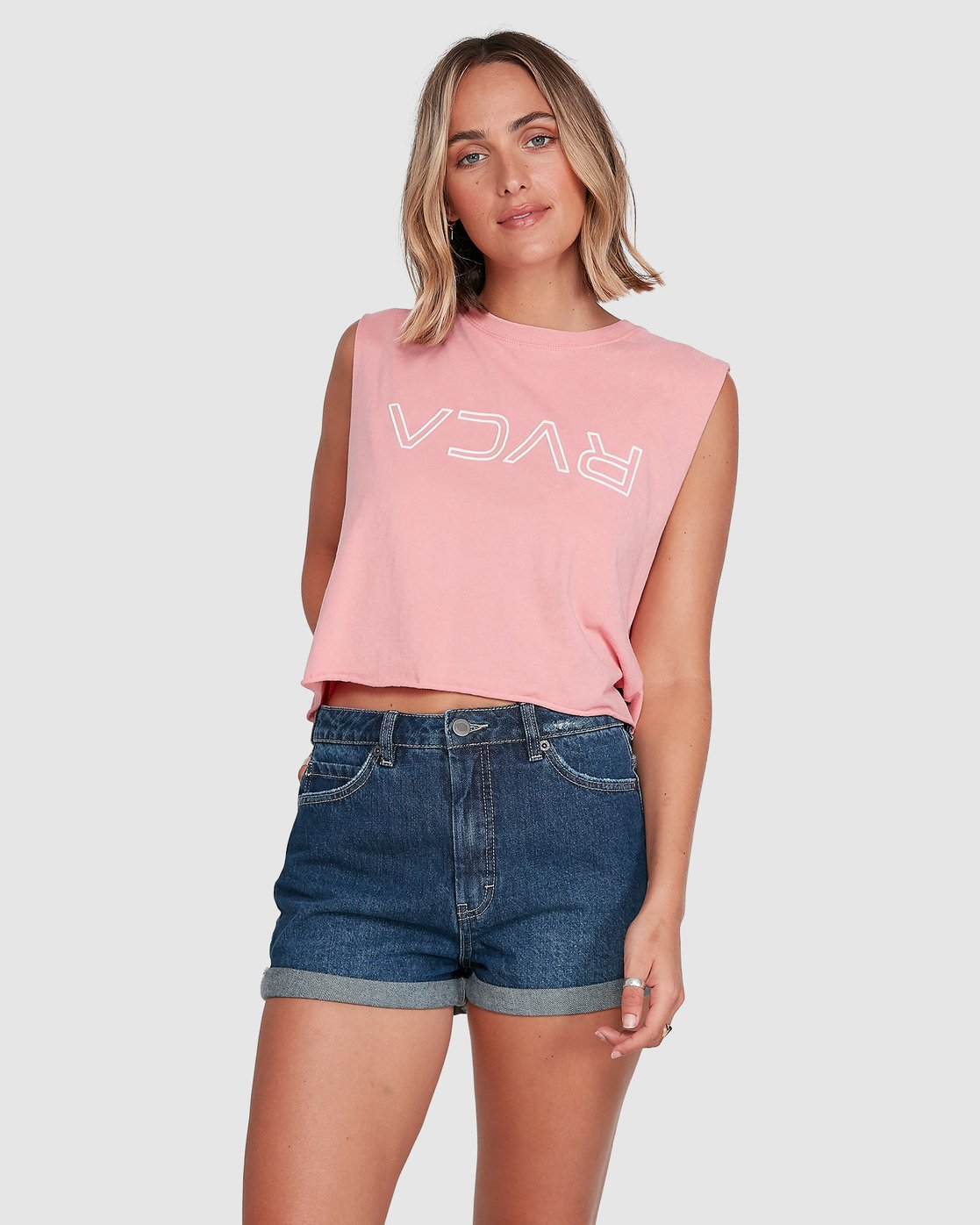 1 Flip N Flock Keyline Muscle Top Pink R205661 RVCA