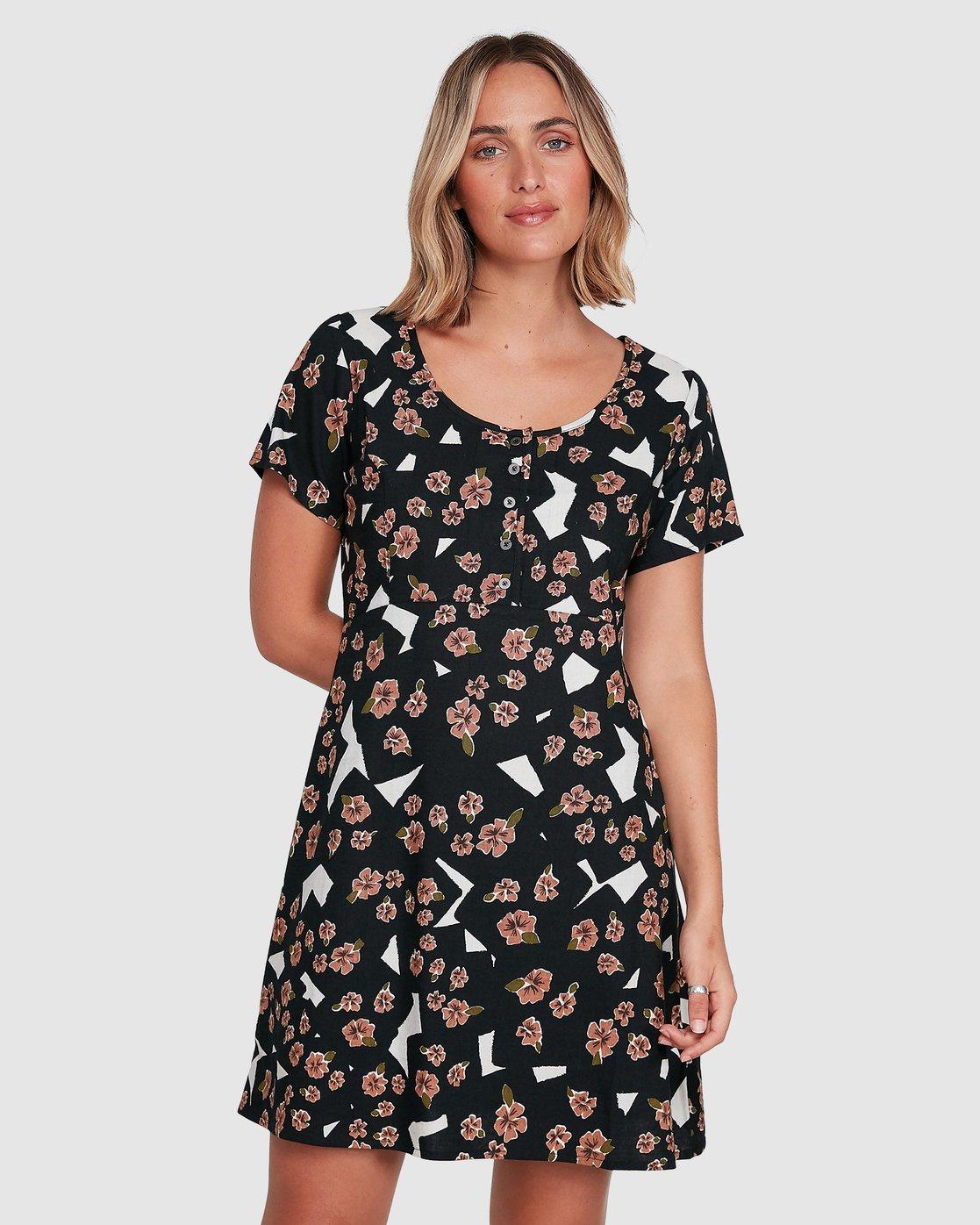 1 Floral Pop Dress Black R206767 RVCA