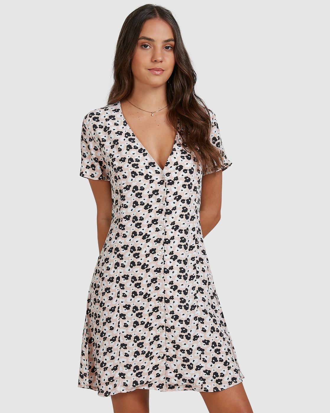 0 Powers Pebble Dress Pink R206768 RVCA